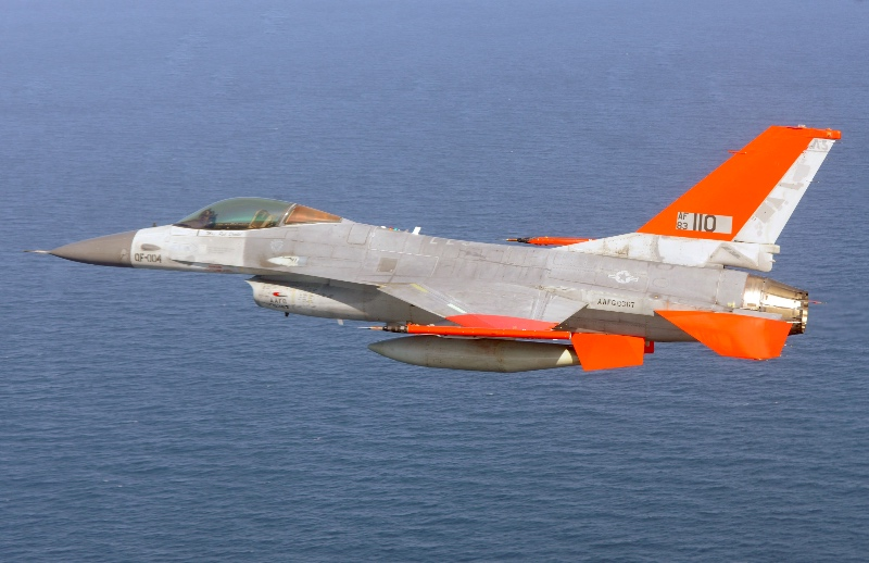 An unmanned U.S. Air Force QF-16 aerial target drone.