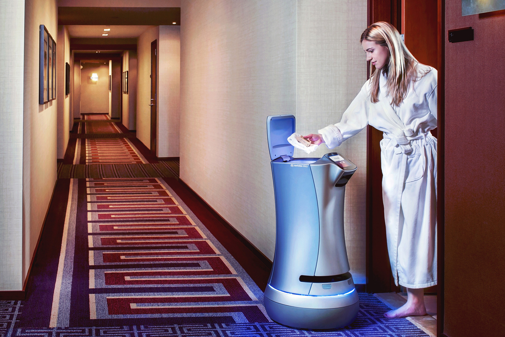 Savioke Relay autonomous hotel robot towel
