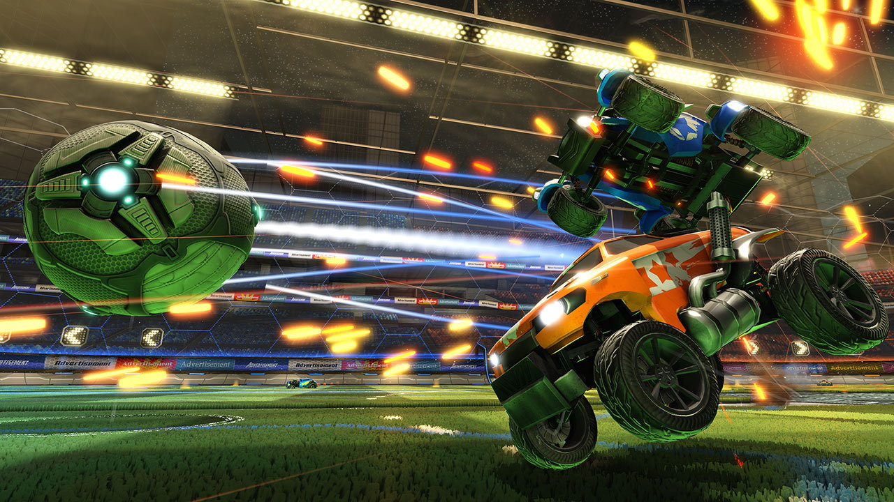 Rocket League is a physics-based soccer game played with high-powered vehicles.