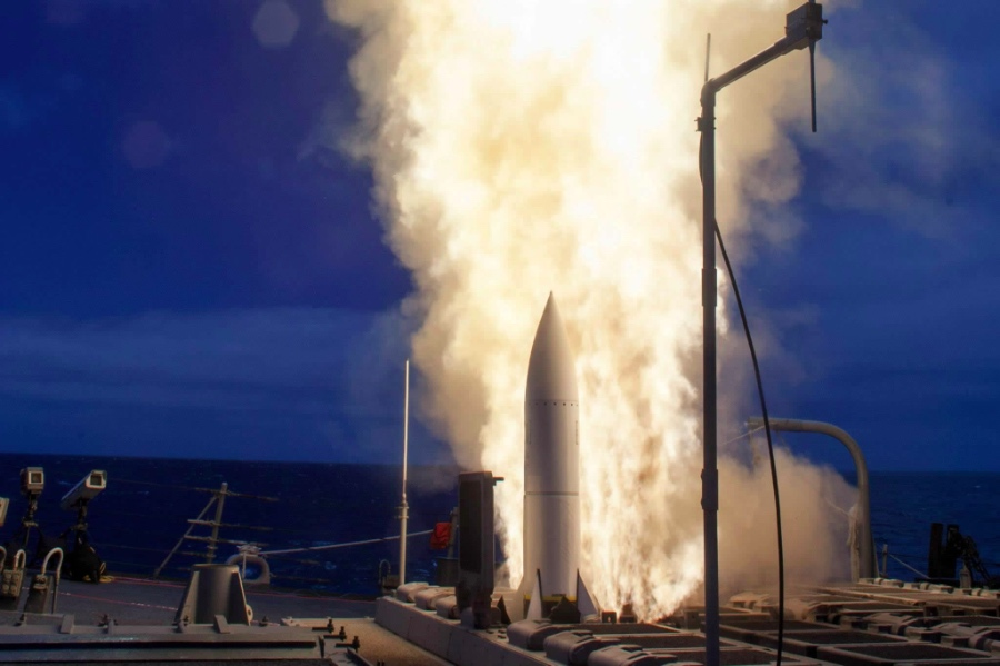 A Raytheon SM-6 missile launches from the deck of the USS John Paul Jones during a test in June 2014.