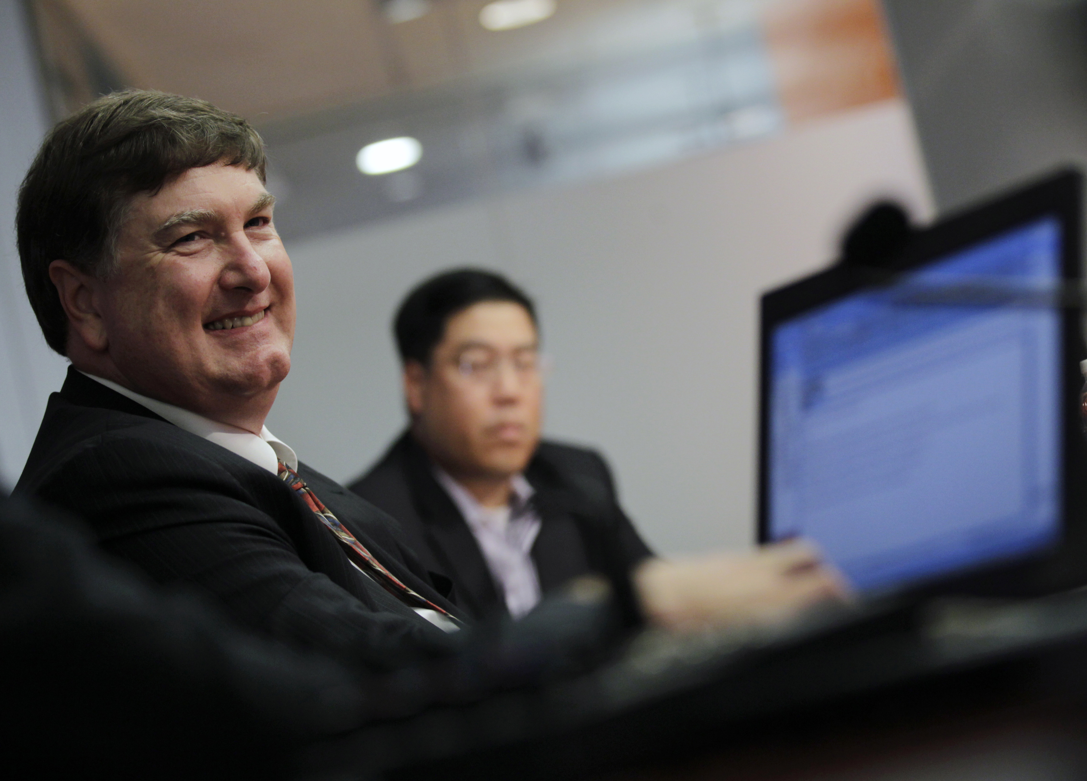 Johnson, senior VP of Corporate Strategy for Dell Inc, smiles during the Reuters Global Technology Summit in New York
