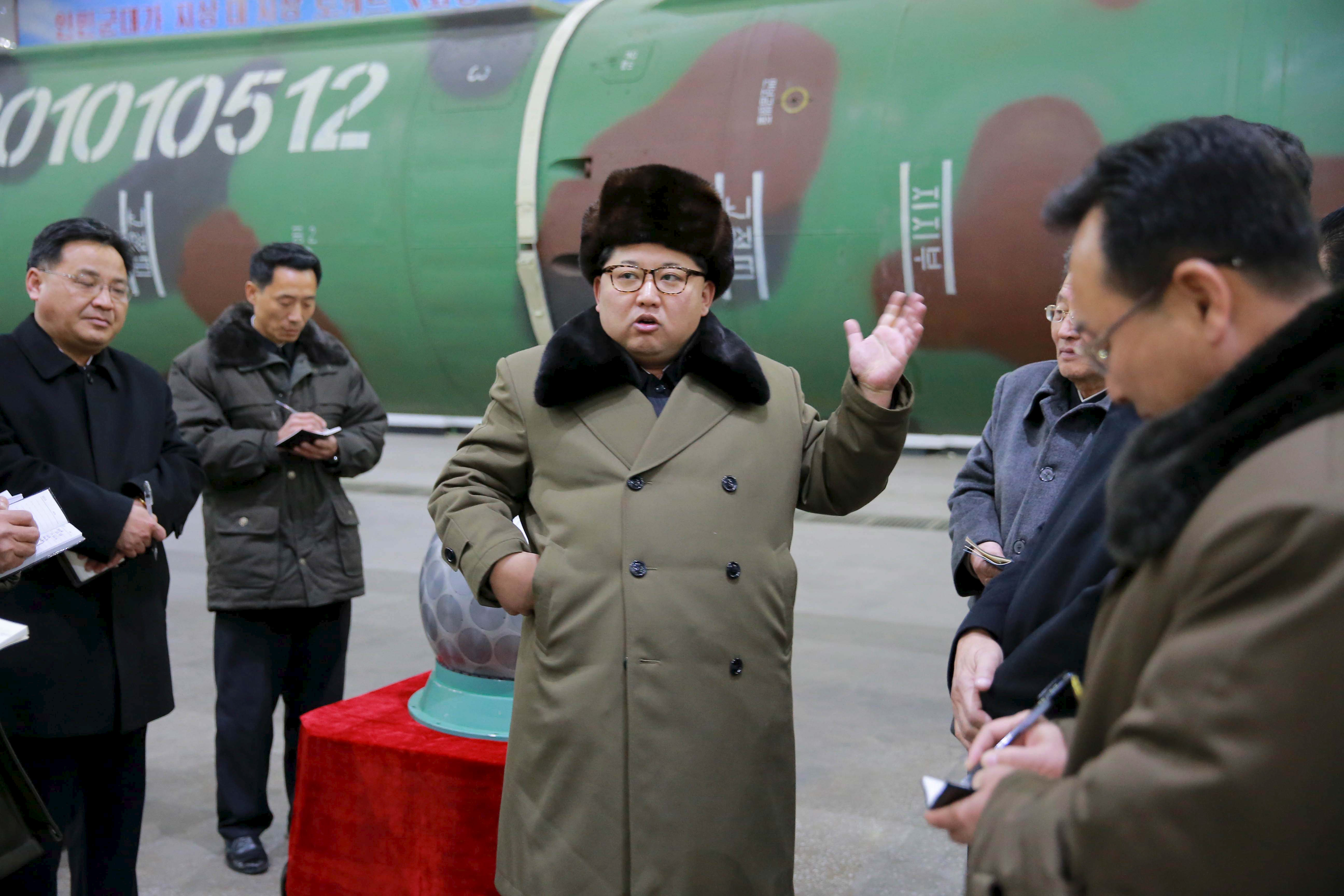 North Korean leader Kim Jong Un meets scientists and technicians in the field of researches into nuclear weapons