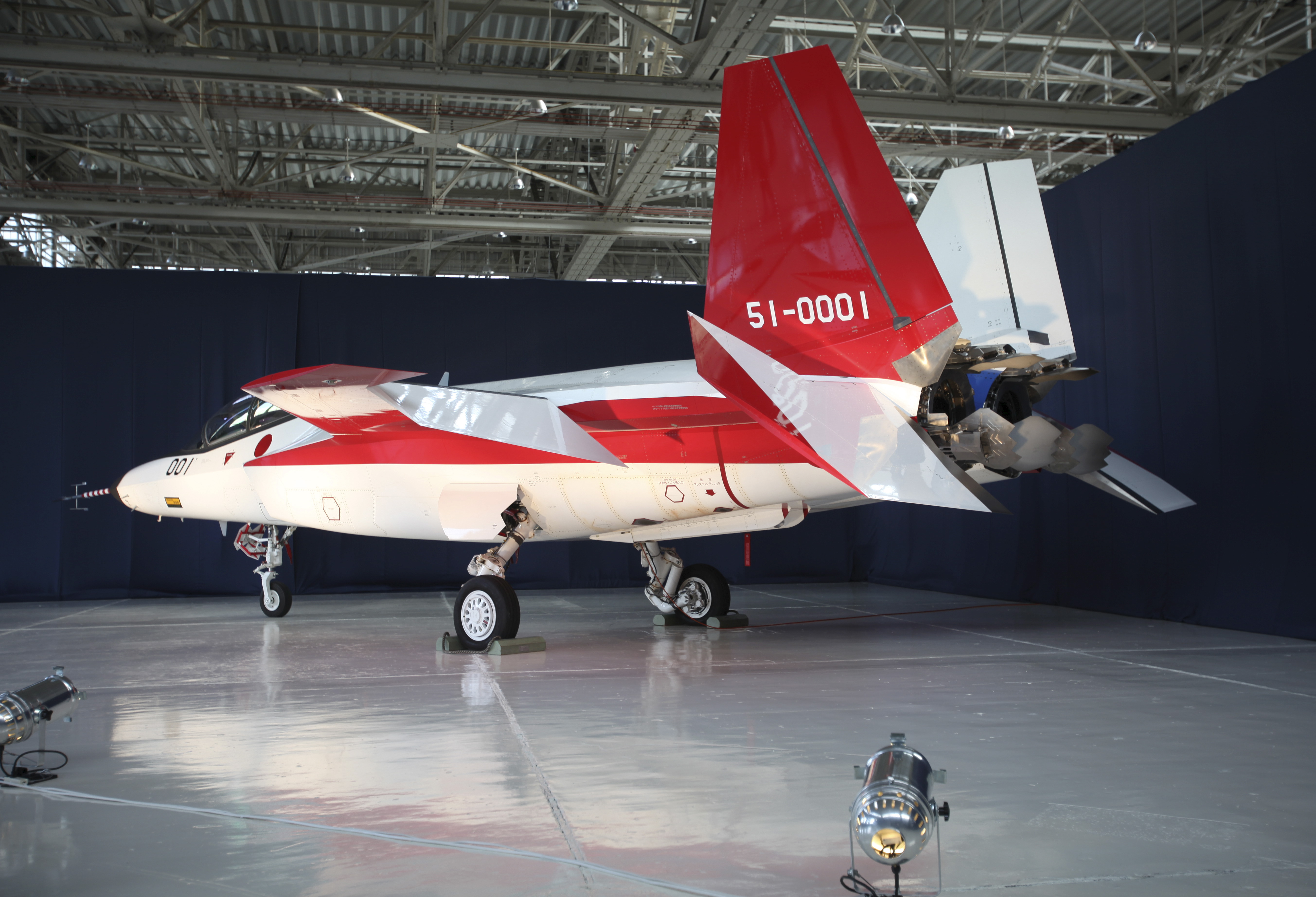 Prototype of the first Japan-made stealth fighter is pictured at a Mitsubishi Heavy Industries' factory in Toyoyama town