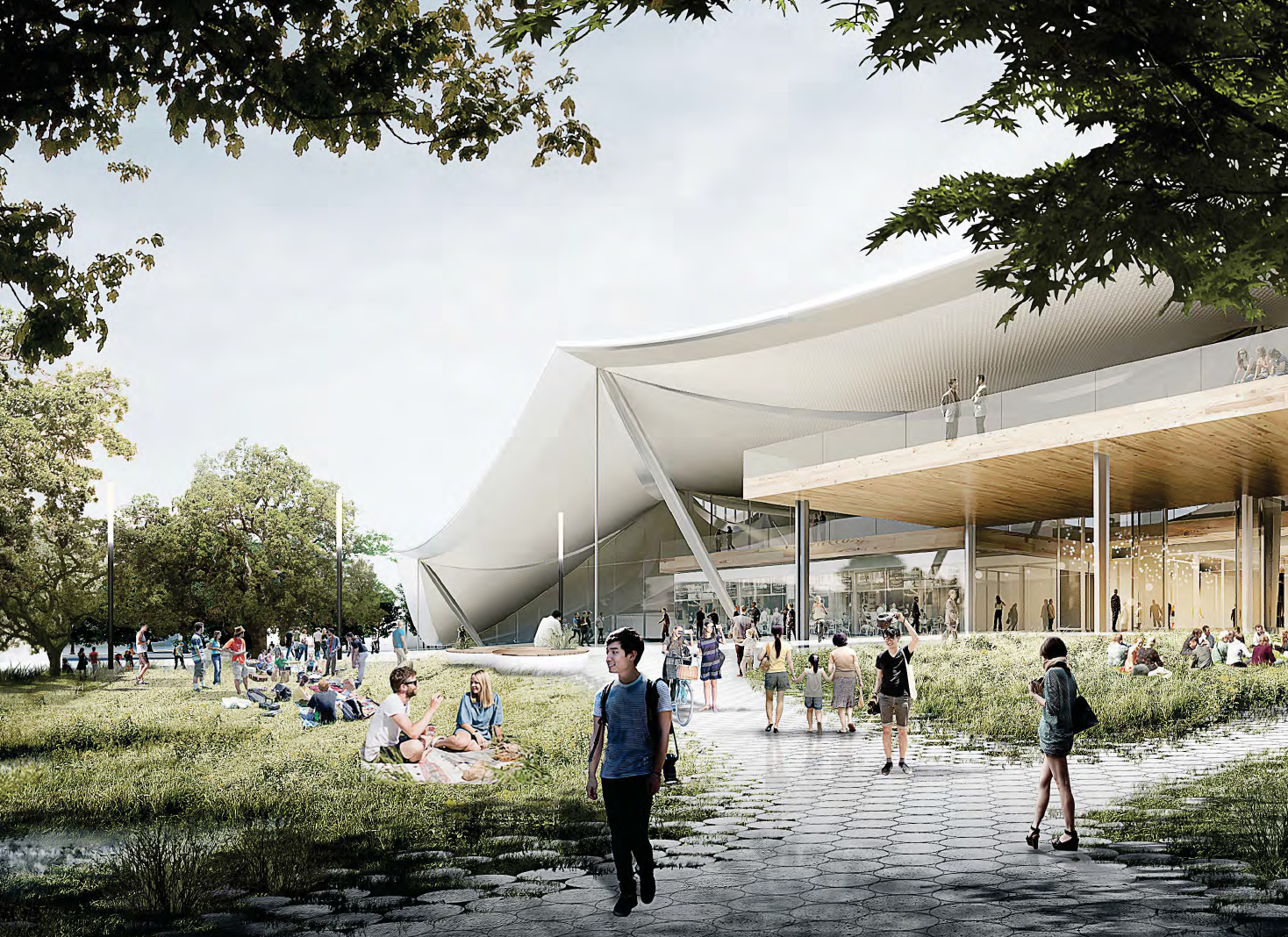 A view of Google's new proposed office building in Mountain View. The building is up for review by the city.