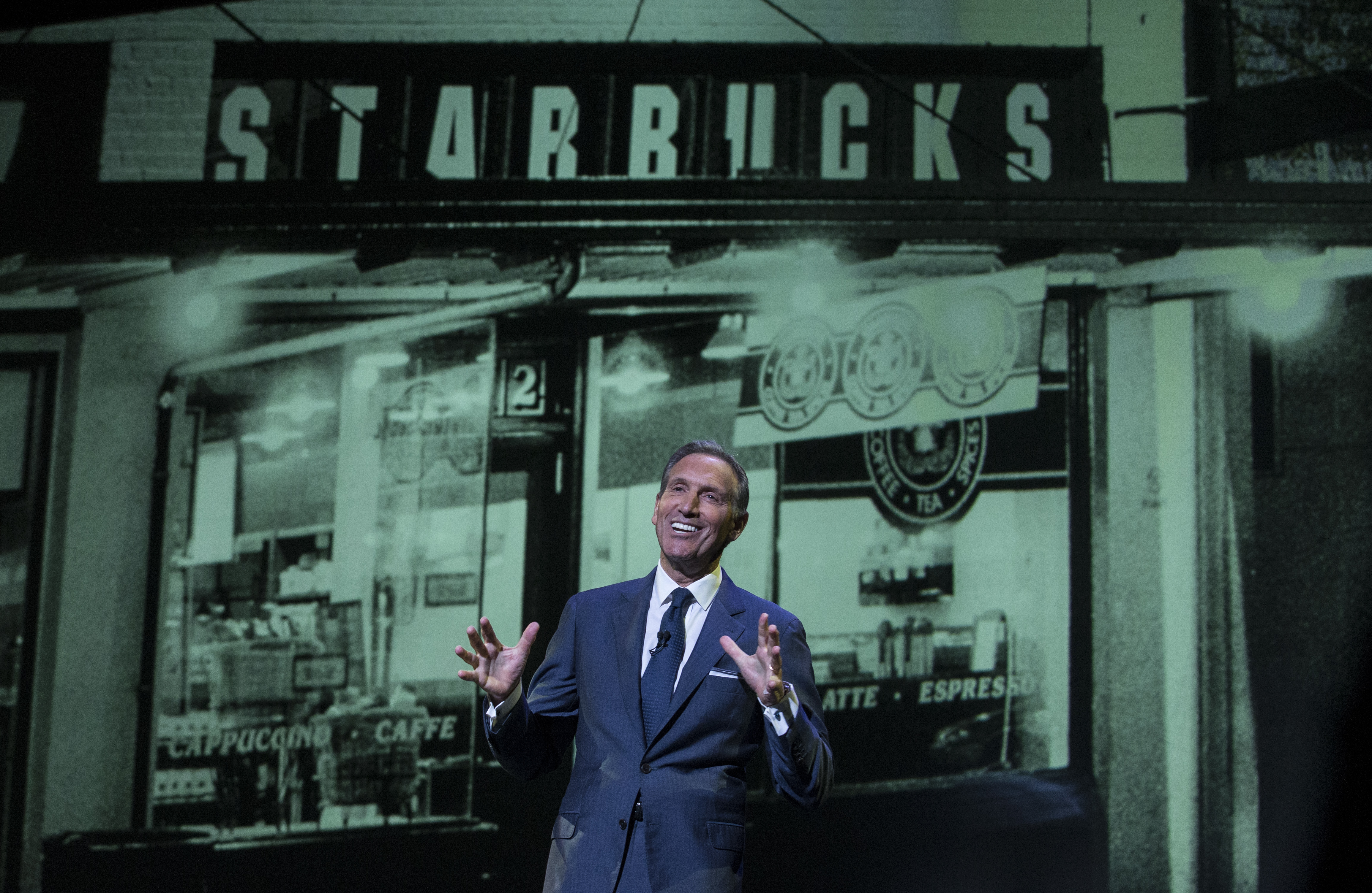 SEATTLE, WA - MARCH 23: Starbucks CEO Howard Schultz speaks during during the Starbucks Annual Shareholders Meeting on March 23, 2016 in Seattle, Washington. Schultz reported on the company's in expansion in China. (Photo by Stephen Brashear/Getty Images)