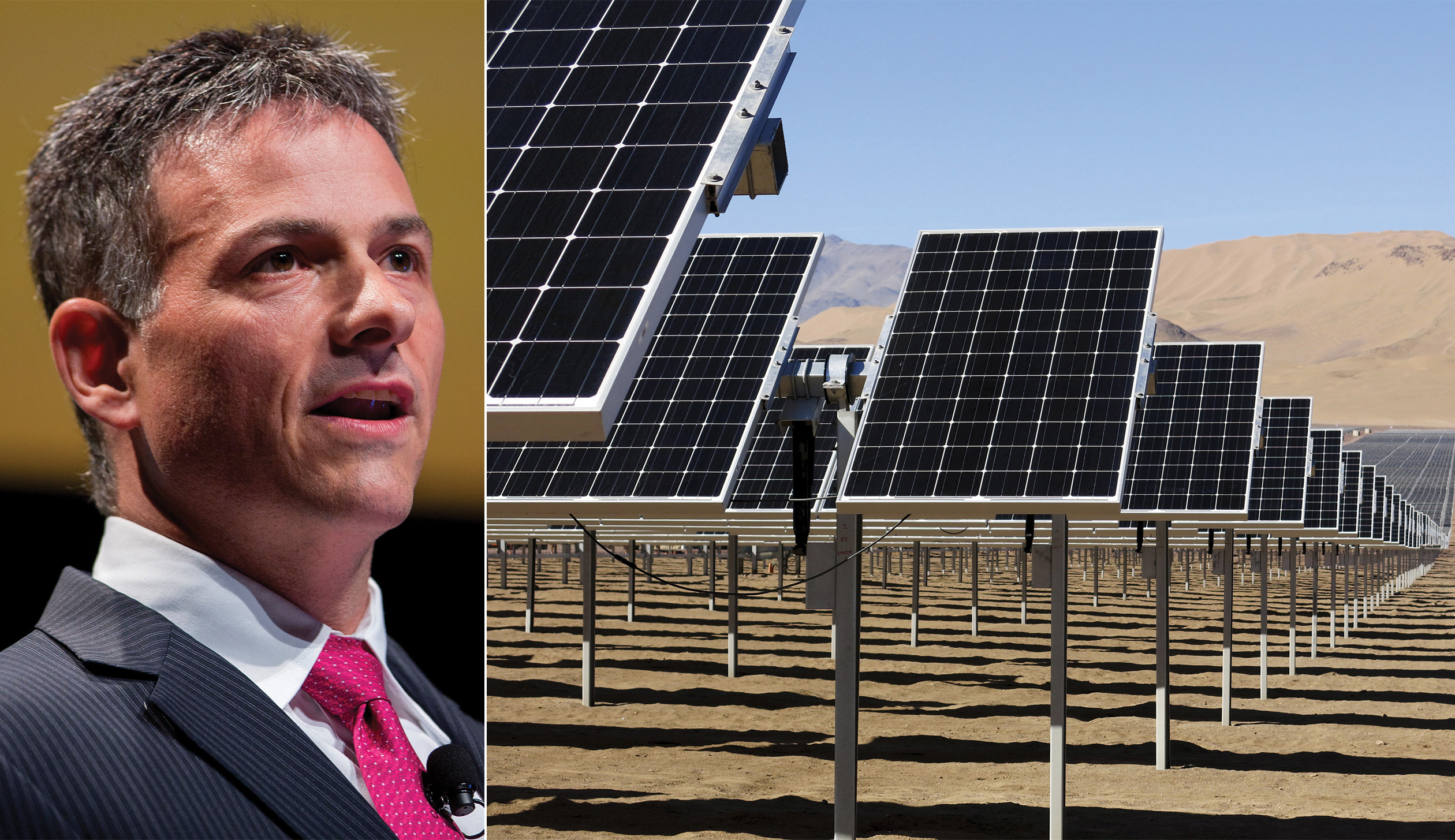 David Einhorn, left;  solar panels installed by SunEdison in the Atacama Desert.