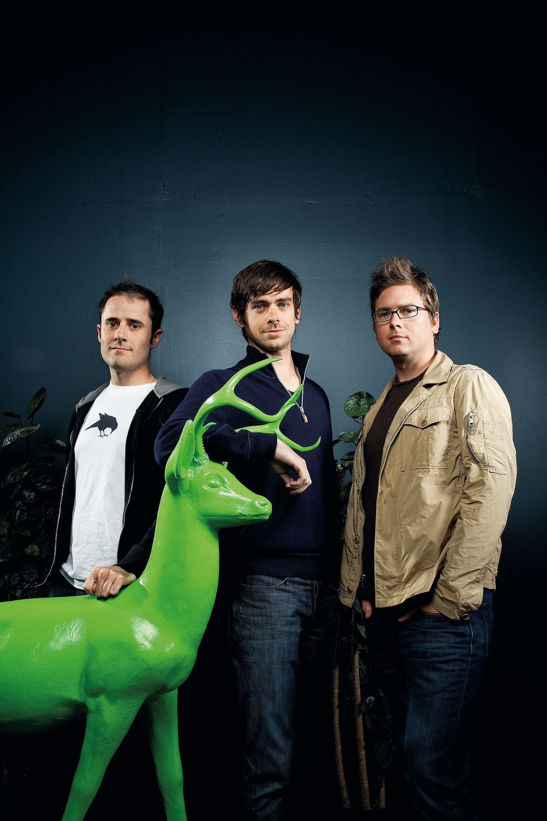 Twitter Founders left to right: Evan Williams, Jack Dorsey, and Biz Stone with the office deer in San Francisco, CA.