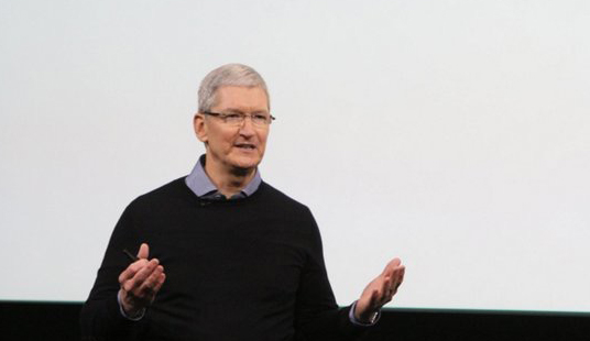 CEO Tim Cook at Apple's Town Hall on March 21.