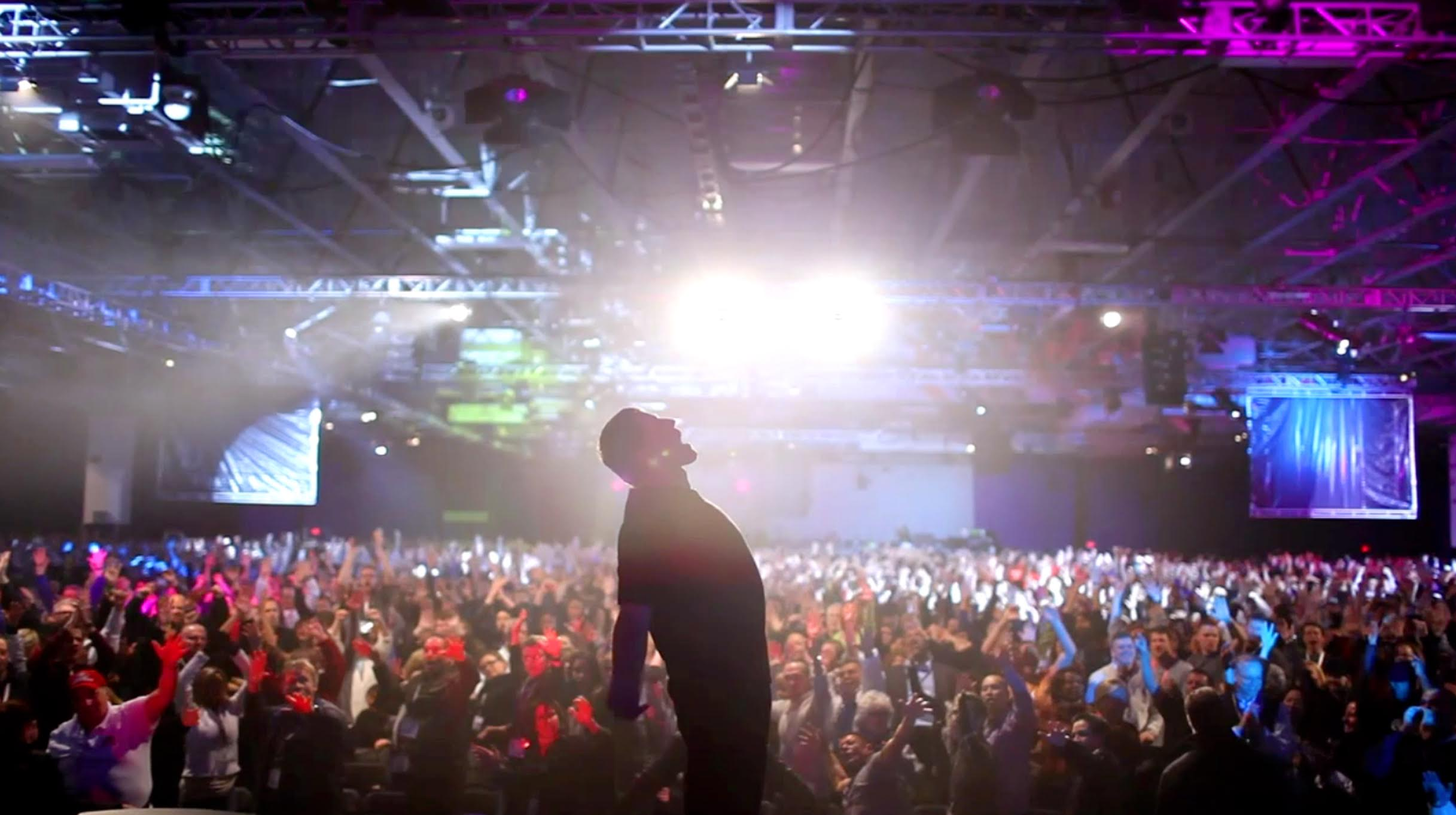 A scene from Rob Berlinger's Netflix documentary on motivational speaker Tony Robbins, which premieres at SXSW.
