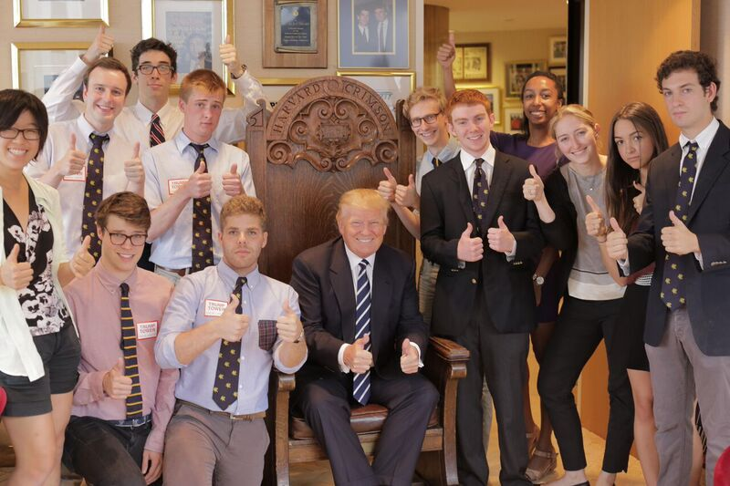 Harvard Lampoon staffers, pretending to be Harvard Crimson staffers, purportedly endorsing Donald Trump for President at Trump Tower in July 2015.
