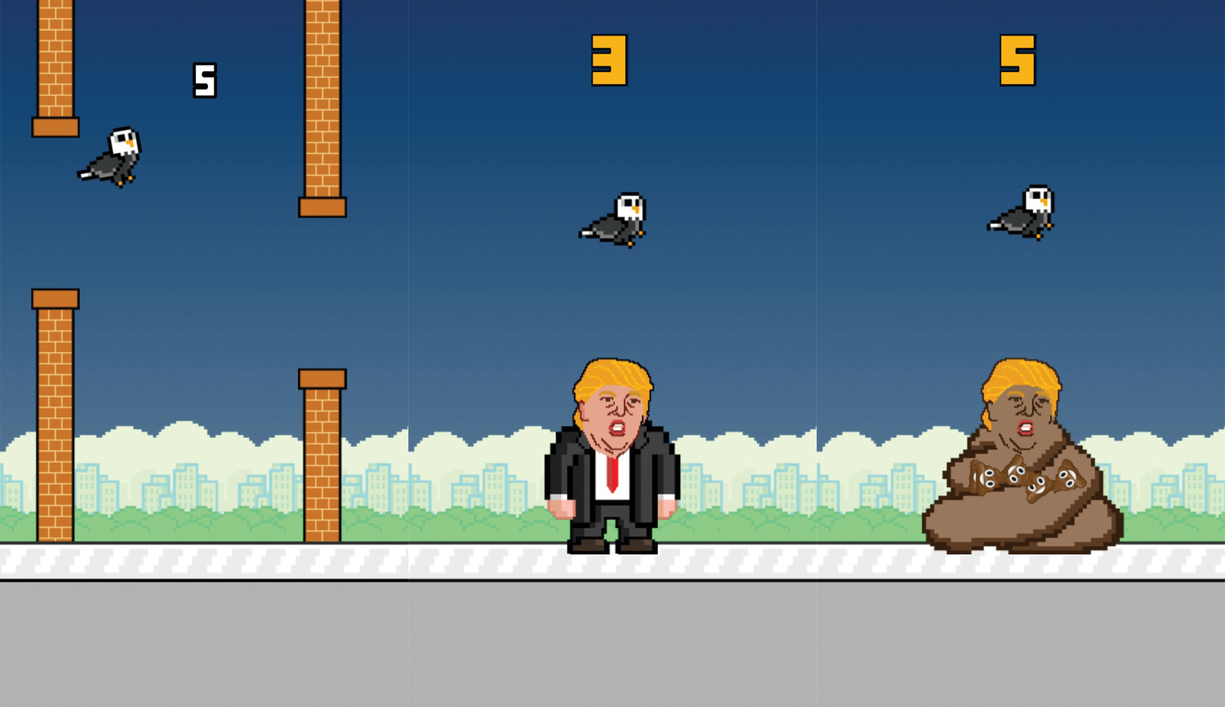 "In the ""Trump Dump"" app, players who fly a bird safely through a wall are rewarded with a chance to poop on Donald Trump, as shown in screenshots of the game."