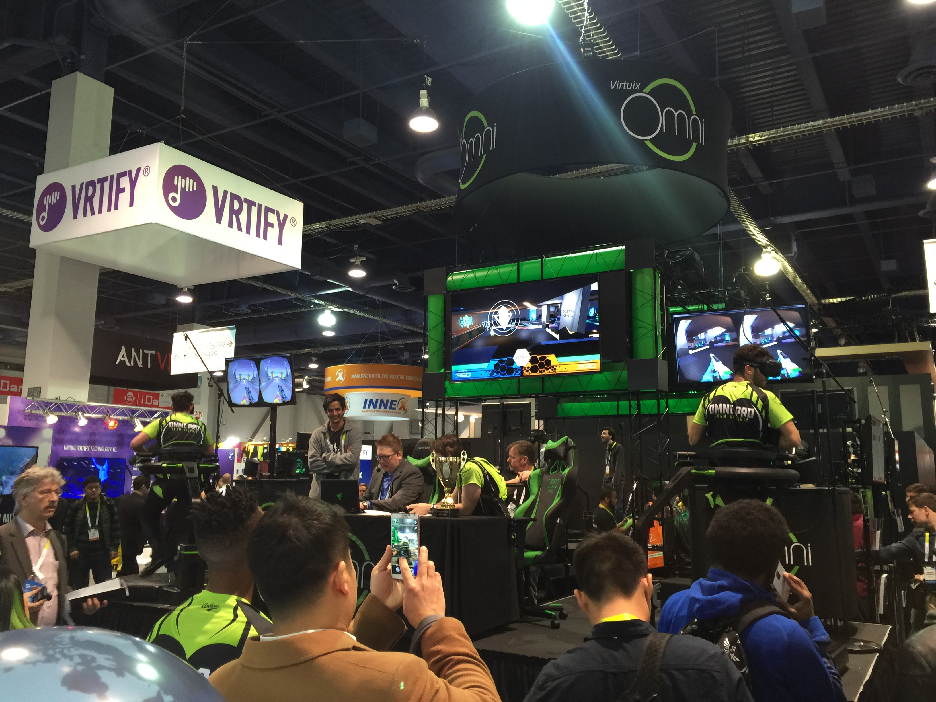At CES 2016, Virtuix held eSports competition on its Omni with gamers playing Omni Arena in VR.