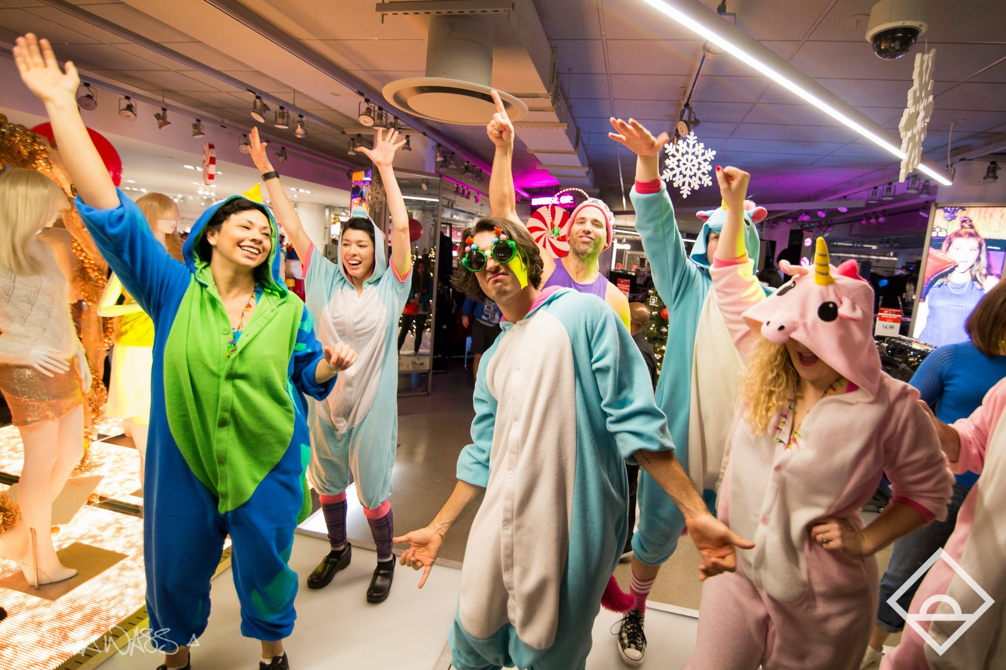Attendees at Macy's first Daybreaker party in New York in December 2015 danced alongside the department store's mannequins and clothing racks.