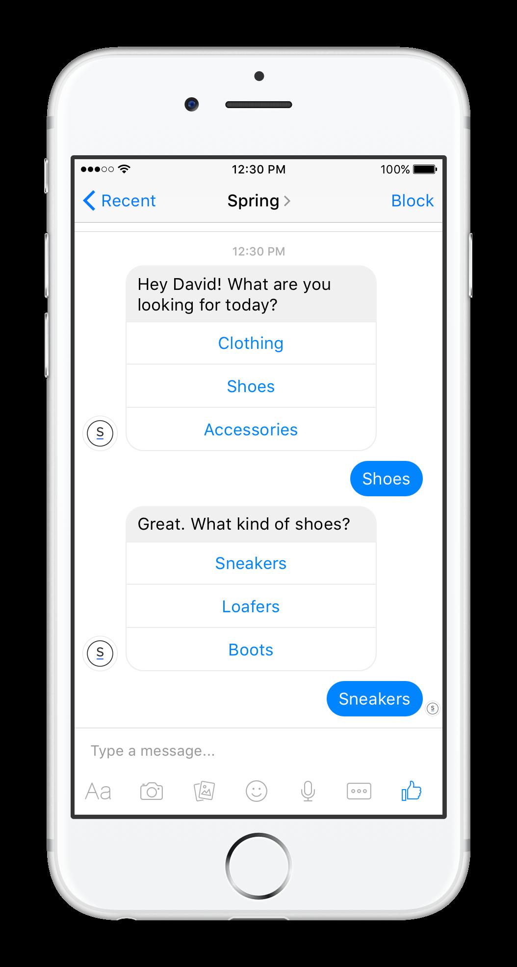 Spring's bot in Facebook's Messenger app.