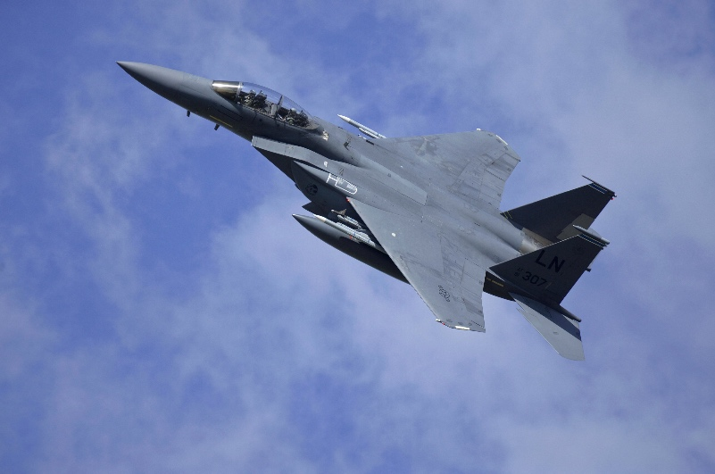 An F-15E Strike Eagle assigned to the 48th Fighter Wing flies over Royal Air Force Lakenheath, England, during a training sortie Aug. 17, 2015.