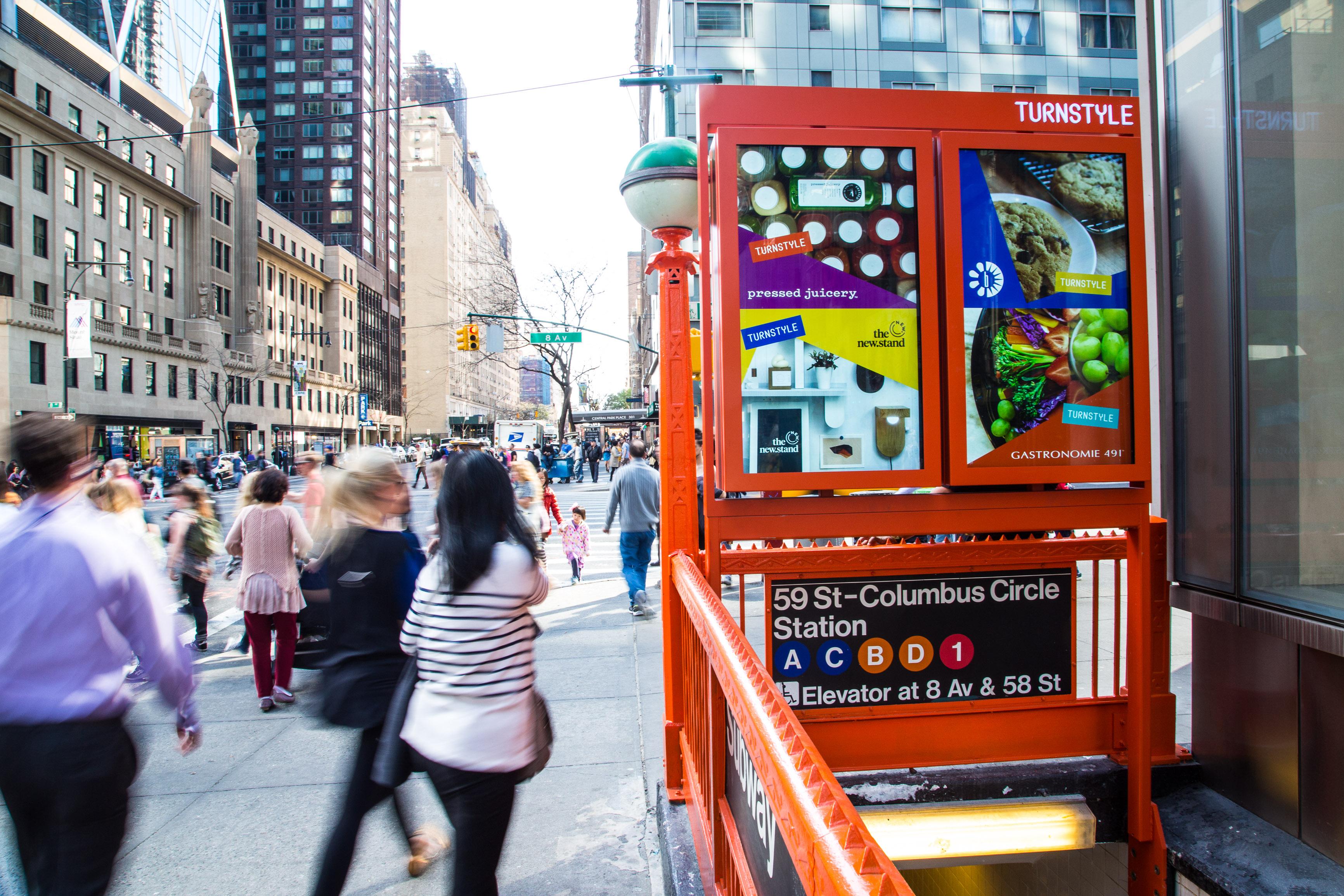 Outfront's digital advertising screens at Columbus Circle Station.