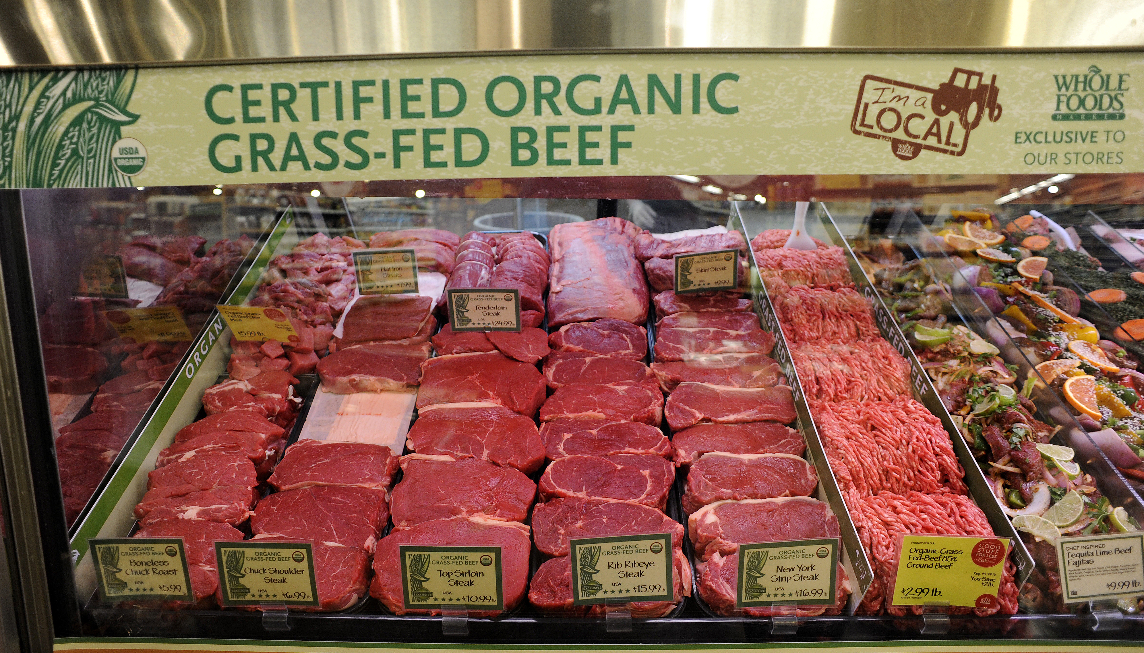 FEXXFDARAPAHOEBEEF_CM55 Start to finish story on organic grass fed beef from the Arapaho Ranch in Wyoming. The beef in the case at the Whole Foods Market in Boulder on Monday, September 21, 2009. Cyrus McCrimmon, The Denver Post