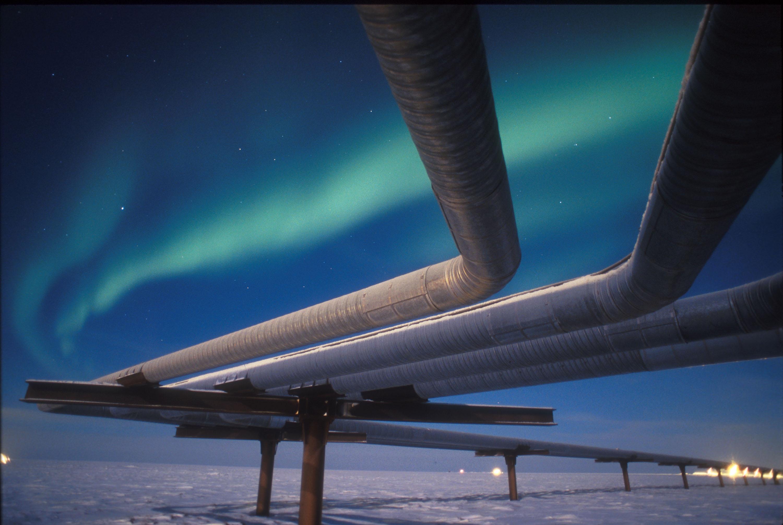Northern Lights Glow Over Alaskan Pipeline