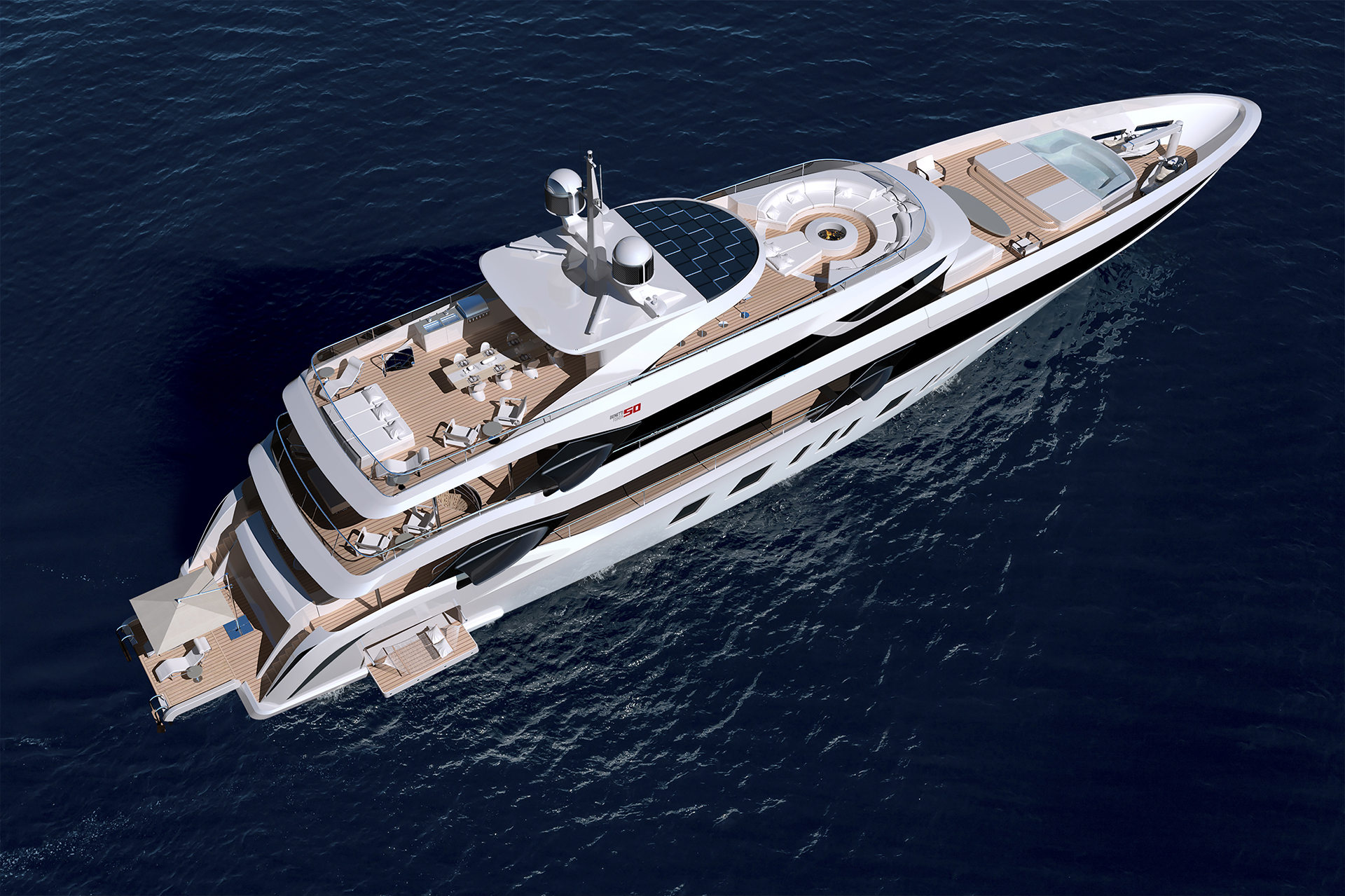 "<span class=""caption"">Top view of a super yacht designed by Henrik Fisker in partnership with shipbuilder Benetti. Courtesy of Henrik Fisker</span>"