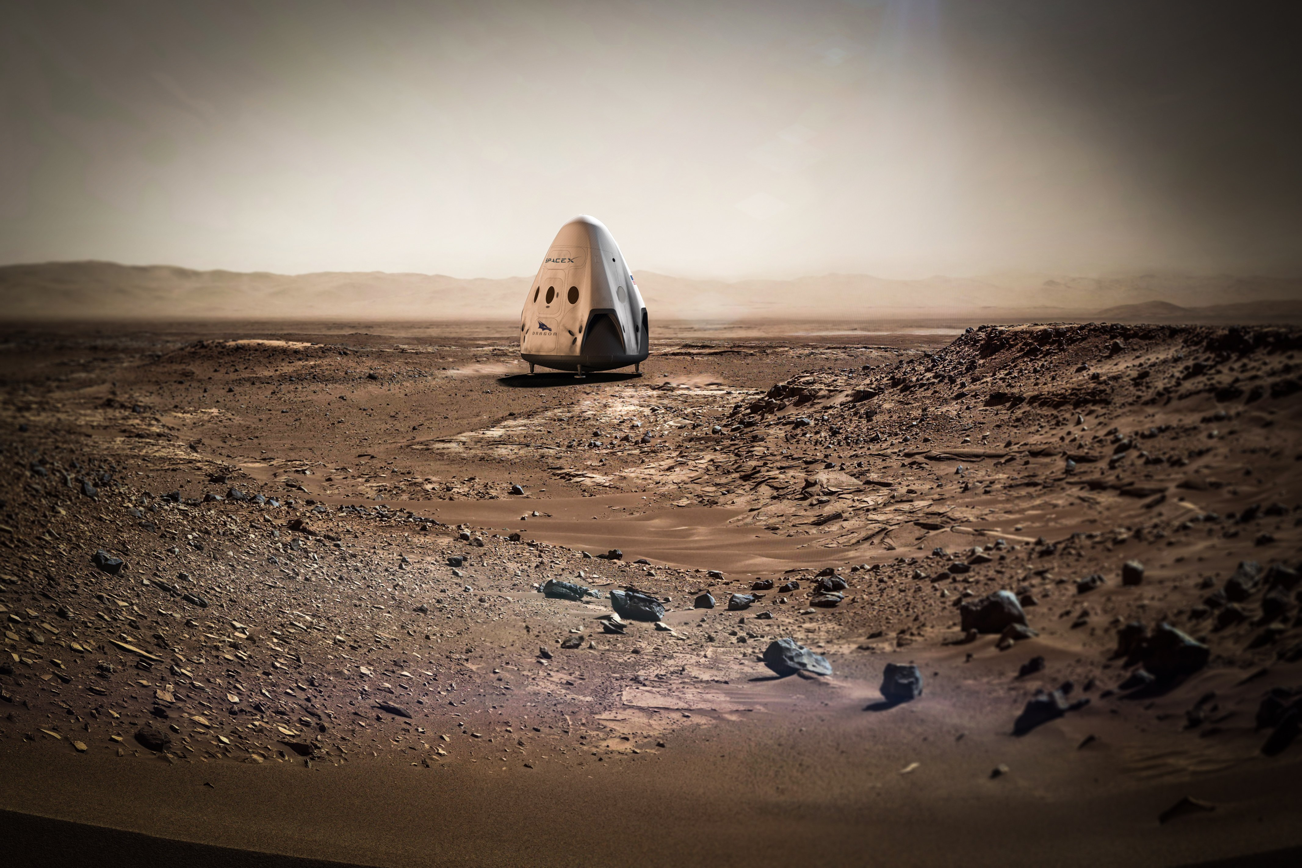 A rendering of SpaceX's Red Dragon capsule on Mars.