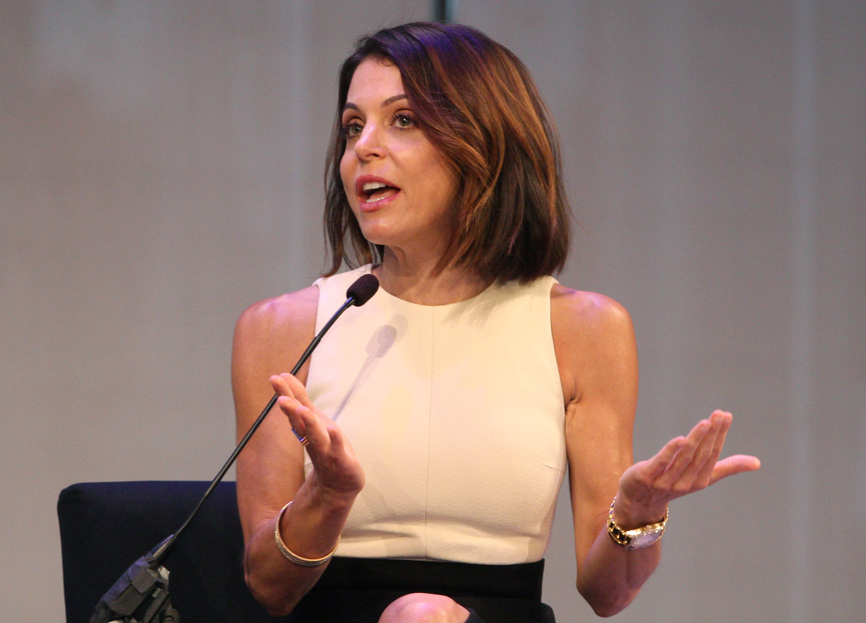 speaks onstage at the XX panel during Advertising Week 2015 AWXII at the Times Center Stage on September 30, 2015 in New York City.