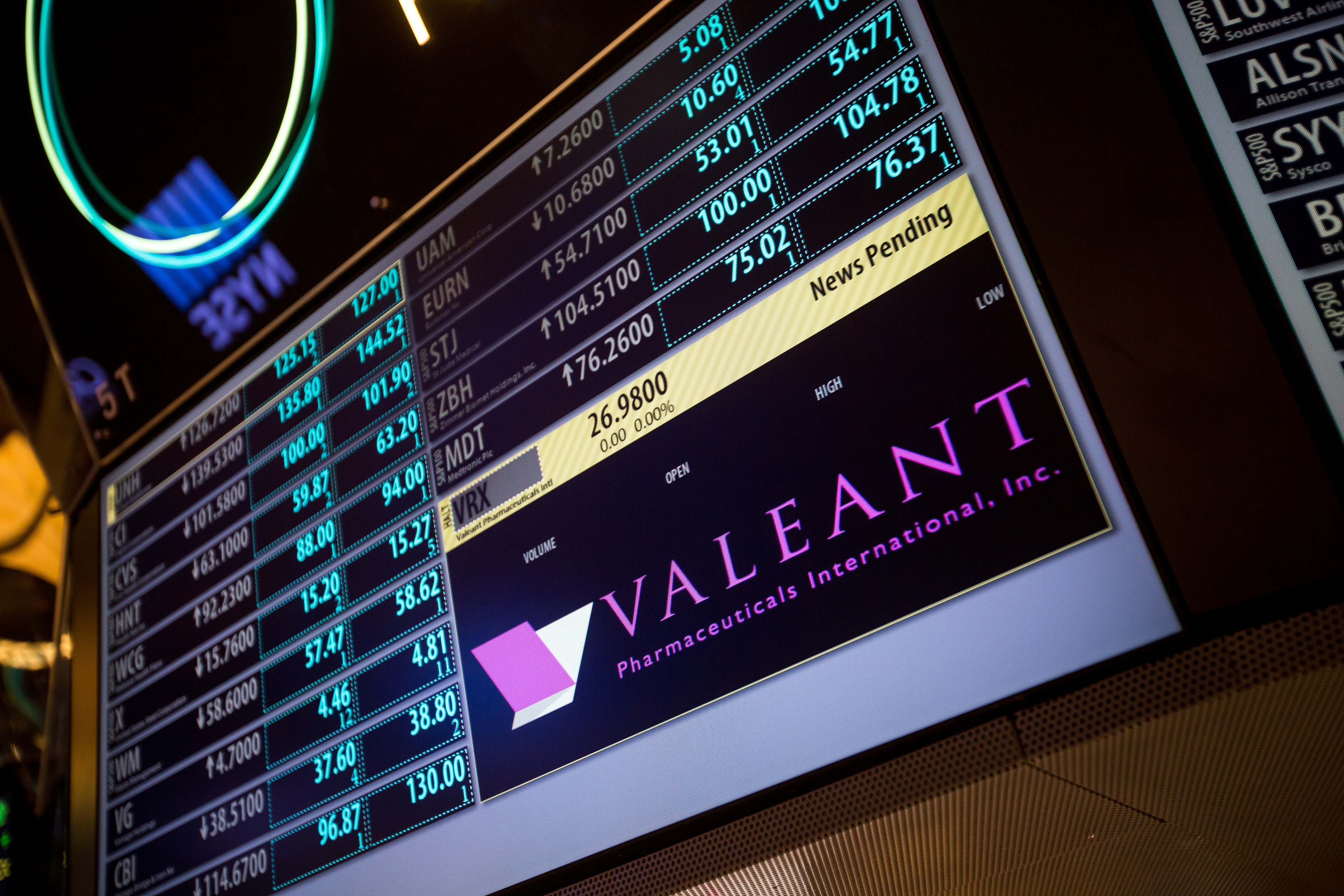 Trading At The NYSE As  Valeant Shares Halted Ahead of News Announcement