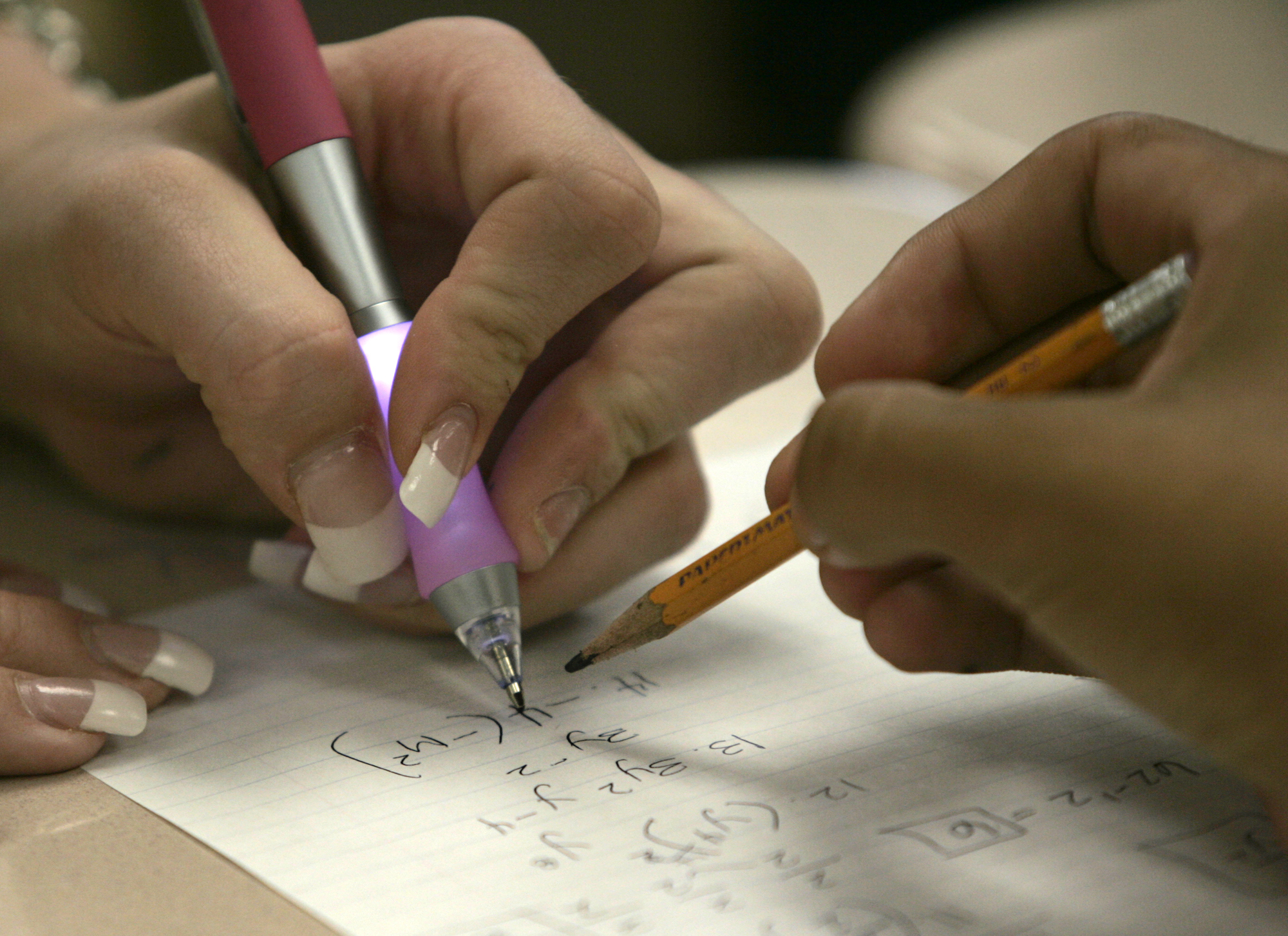 Riverside, Oct. 20, 2005 – – Students work on problem at math's class specially arranged at Martin