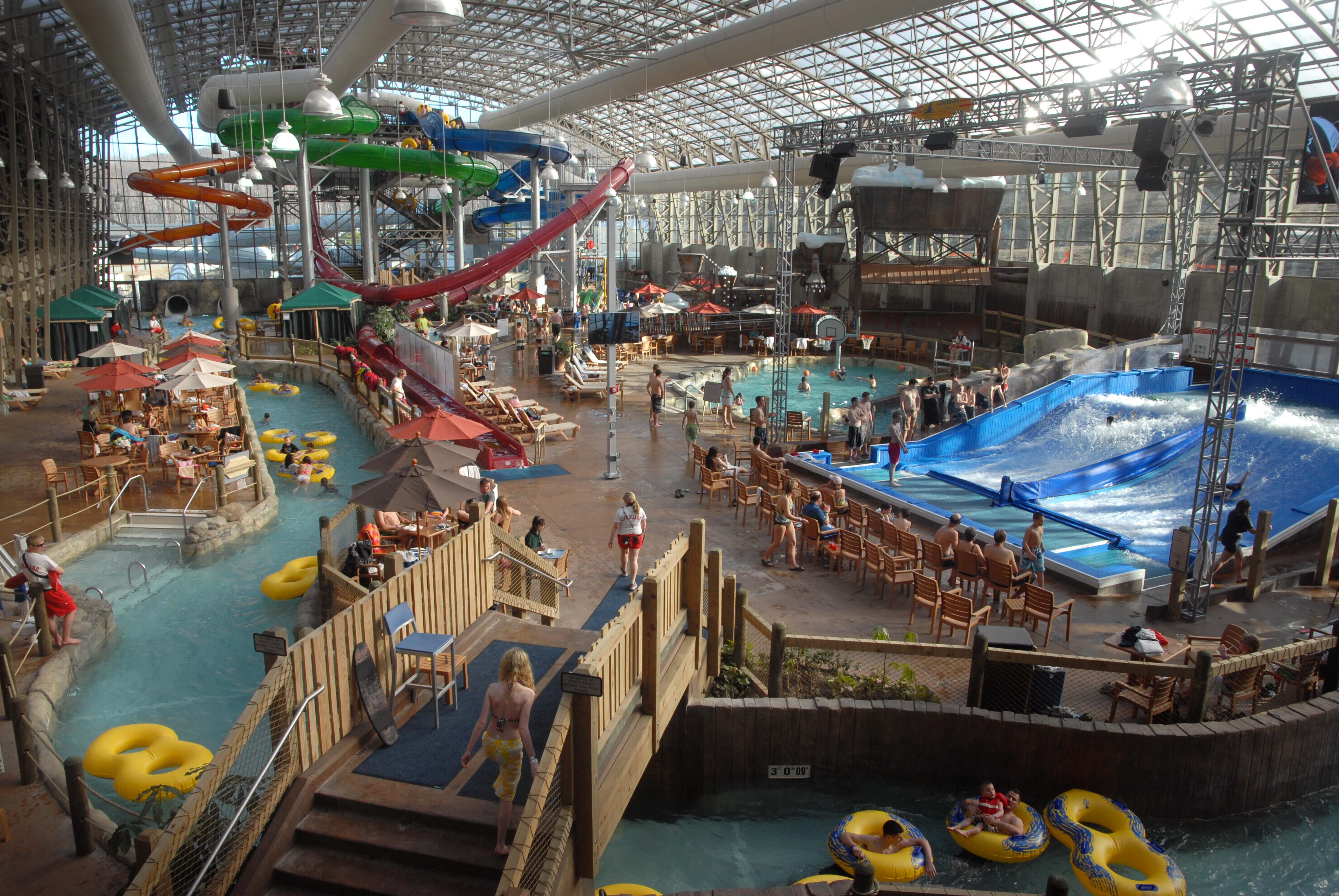 People use the water park at Jay Peak in Jay Vermont