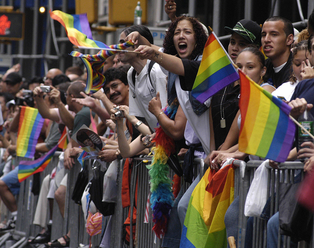 Onlookers wave gay pride flags and cheer