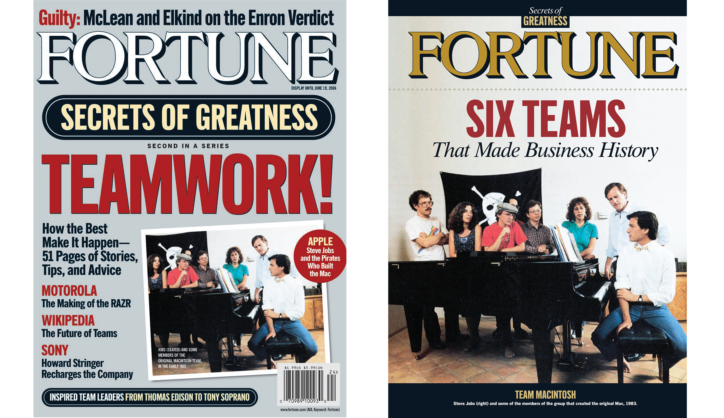 The June 19, 2006 cover and inside cover of Fortune that ran this 1983 photo of Steve Jobs, on the right of the photo, with some of the members of the group that created the original Mac.