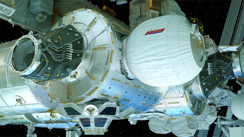 A rendering shows the Bigelow Expandable Activity Module attached to the ISS.