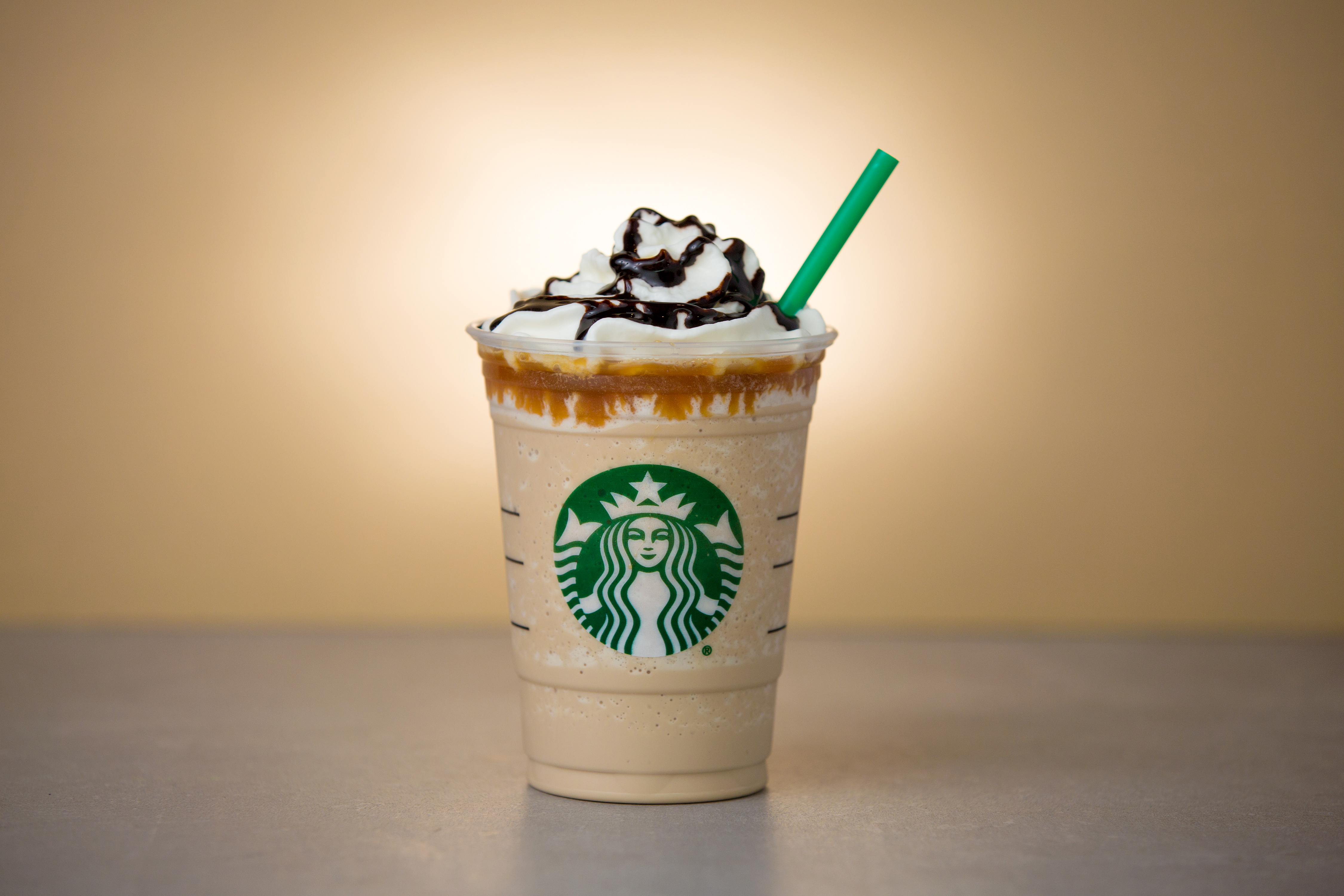 Caramel Cocoa Cluster Frappuccino blended beverage photographed on April 1, 2016. (Joshua Trujillo, Starbucks)