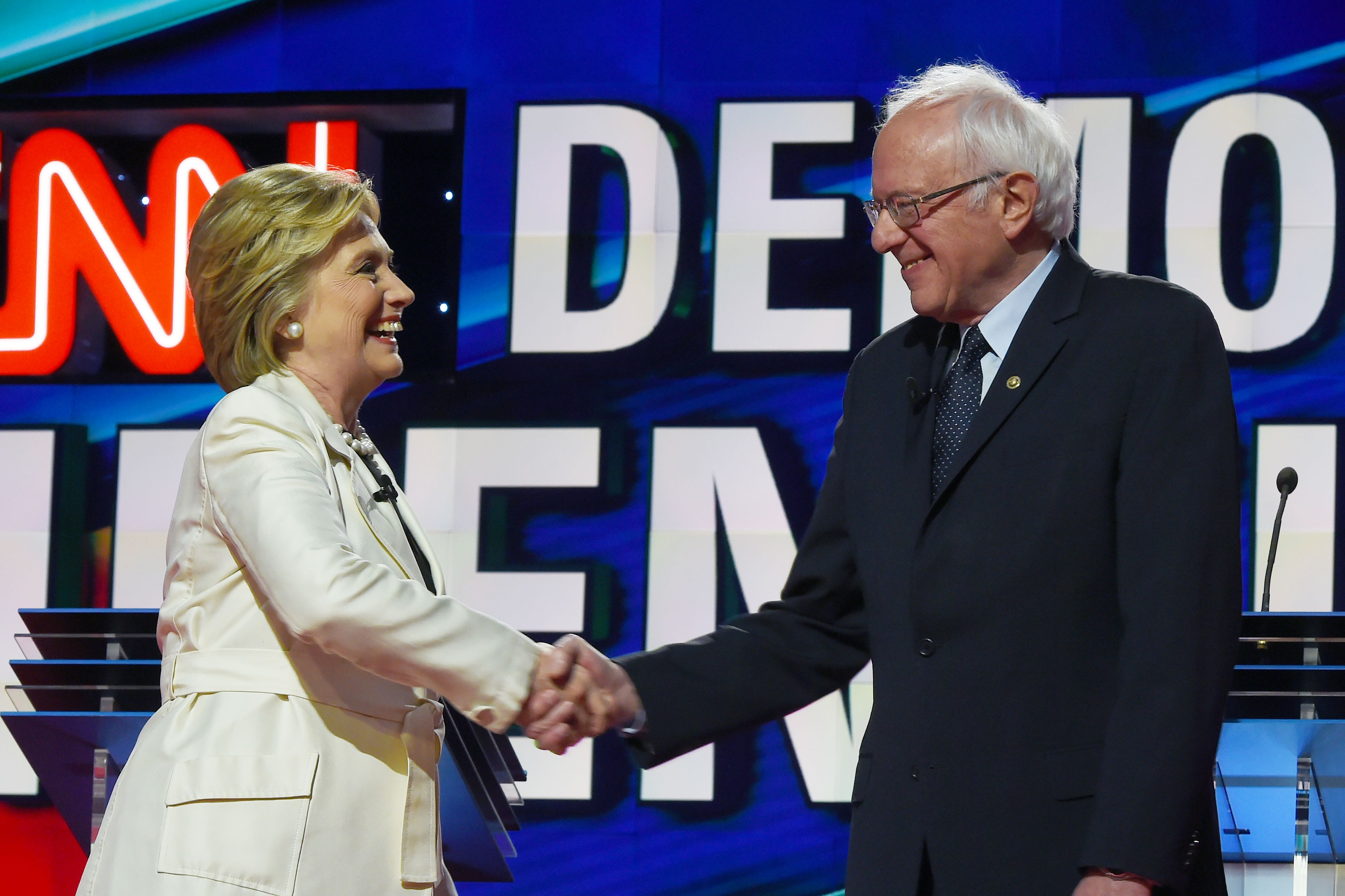 Hillary Clinton and Bernie Sanders on a debate stage in Brooklyn  ahead of the New York primary.