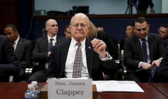 "U.S. Director of National Intelligence James Clapper takes his seat to testify in a House Appropriations hearing on ""World Wide Threats"" on Capitol Hill in Washington"