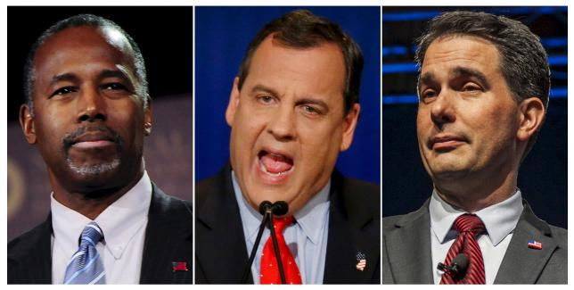 Combination photo of former presidential candidate Ben Carson Governor of New Jersey Chris Christie and Governor of Wisconsin Scott Walker