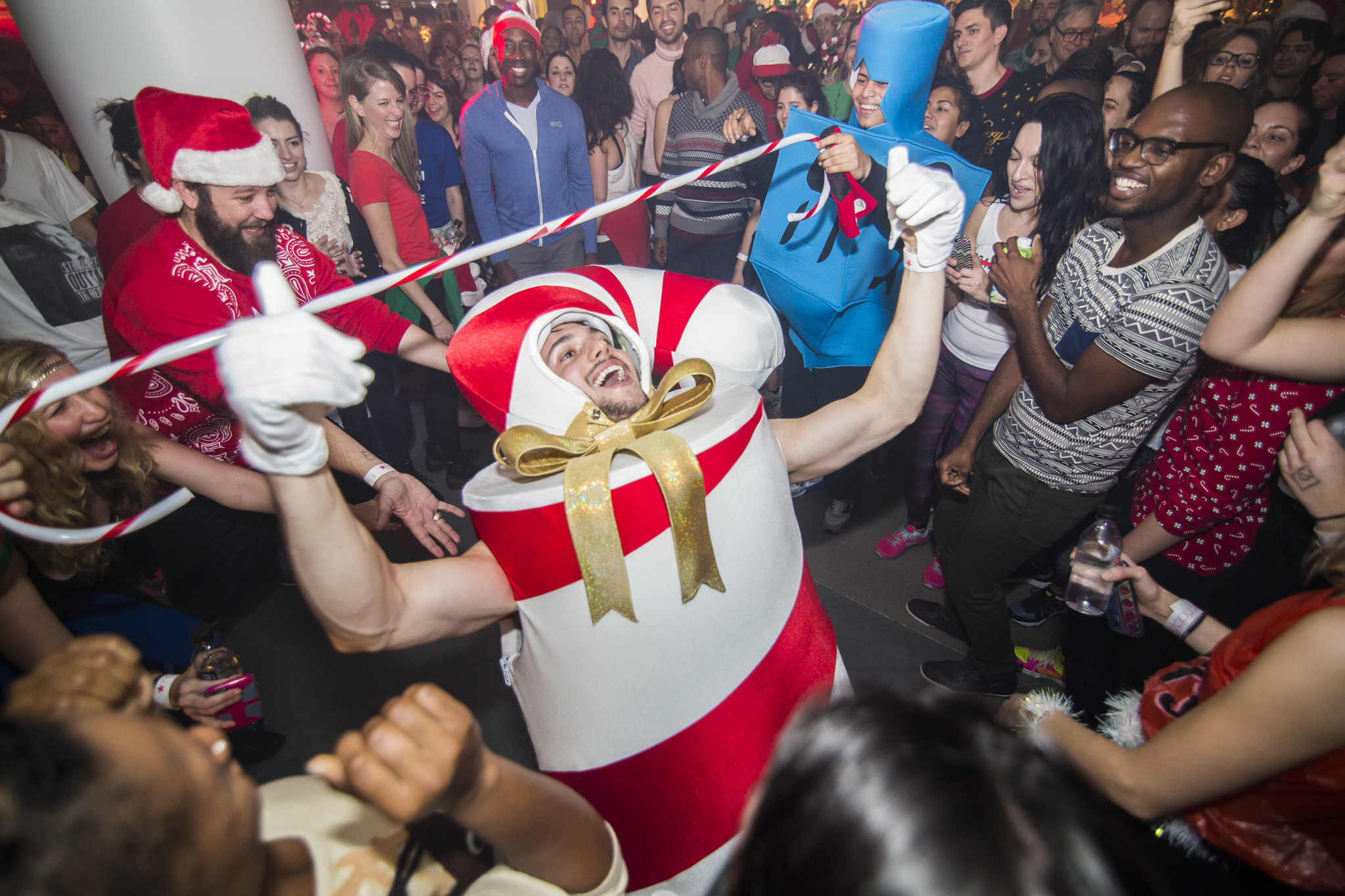 The dance floor at Macy's holiday-themed Daybreaker event in December 2015.