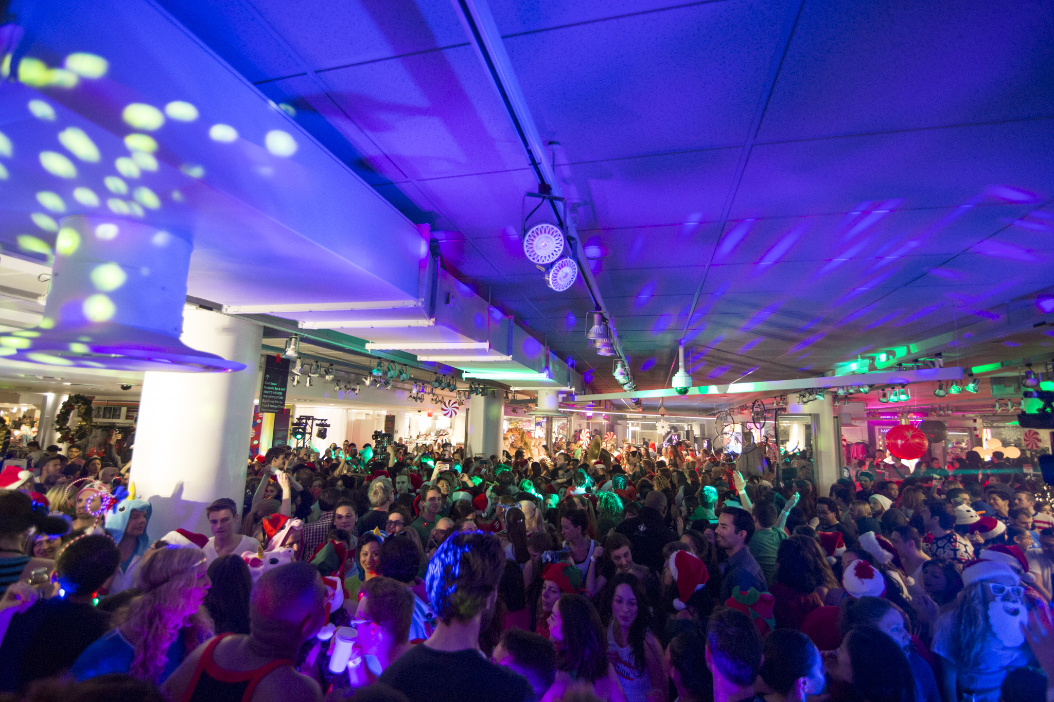 About 1000 people attended Macy's first Daybreaker dance party at its New York flagship store on 34th Street in December 2015.