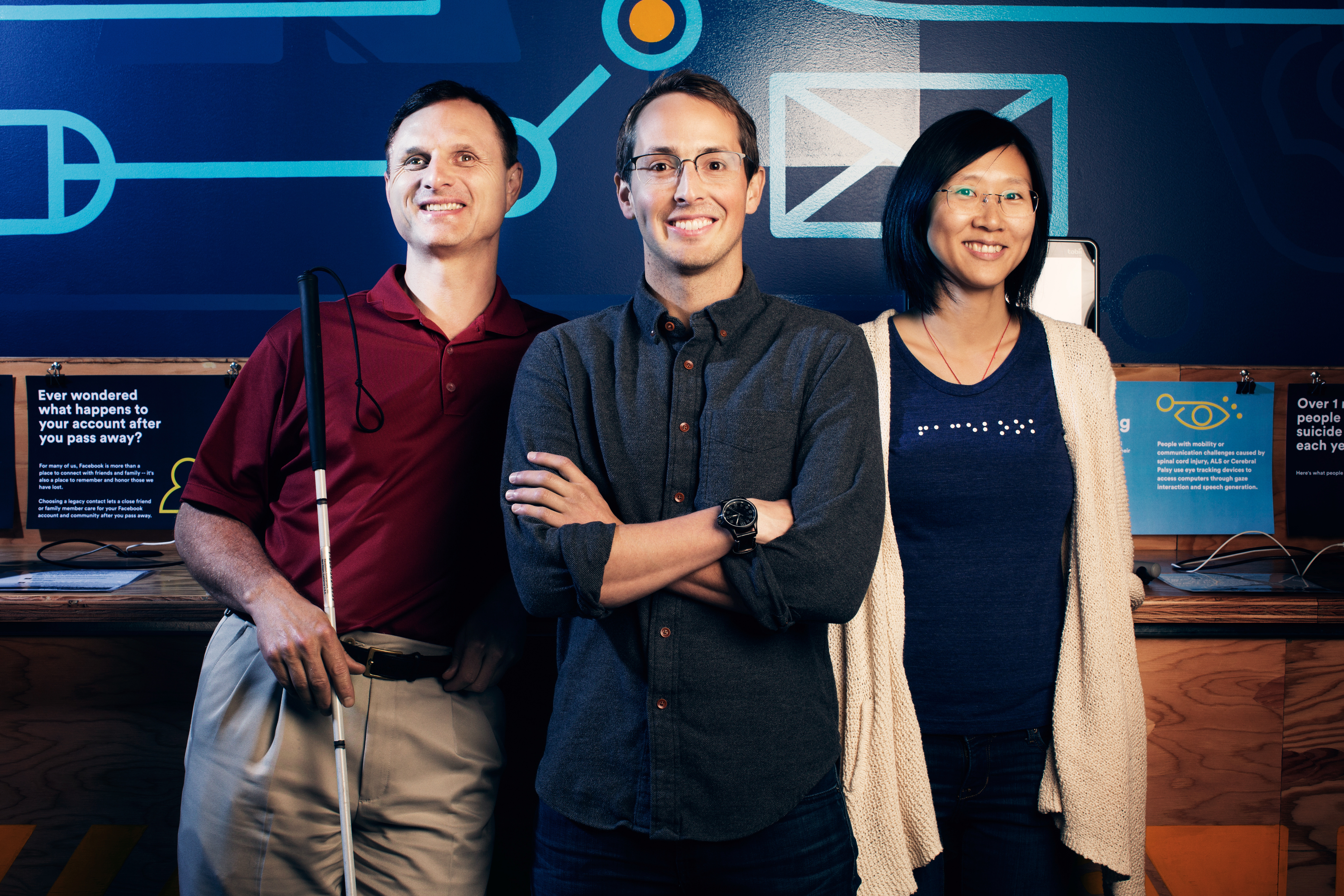 Facebook's accessibility team— Matt King, Jeff Wieland, and Shaomei Wu—are behind the new technology.