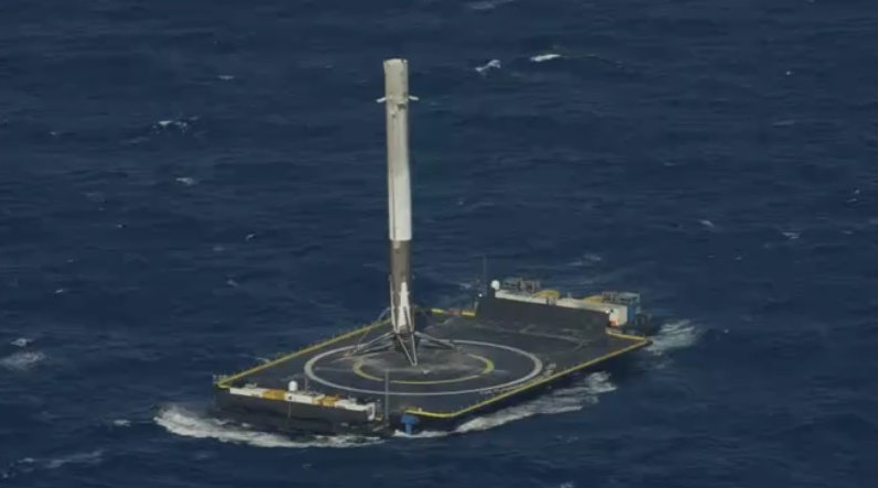 SpaceX's Falcon 9 successfully lands on the company's floating drone ship.