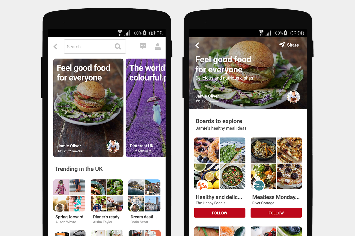 "Pinterest's new ""Featured Collections"" for the U.K."