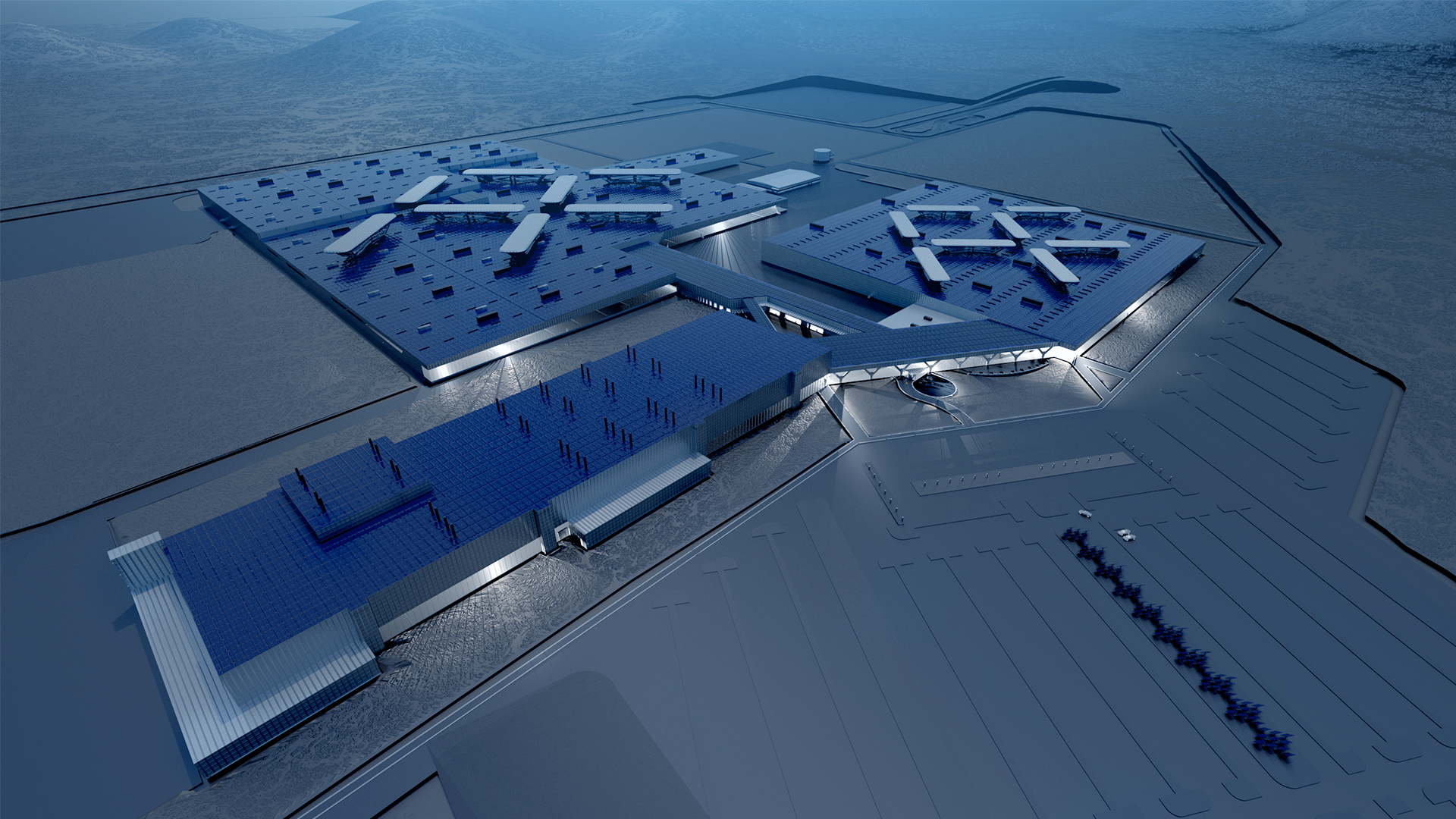 A rendering of Faraday Future's original plan for its plant in North Las Vegas, Nevada.