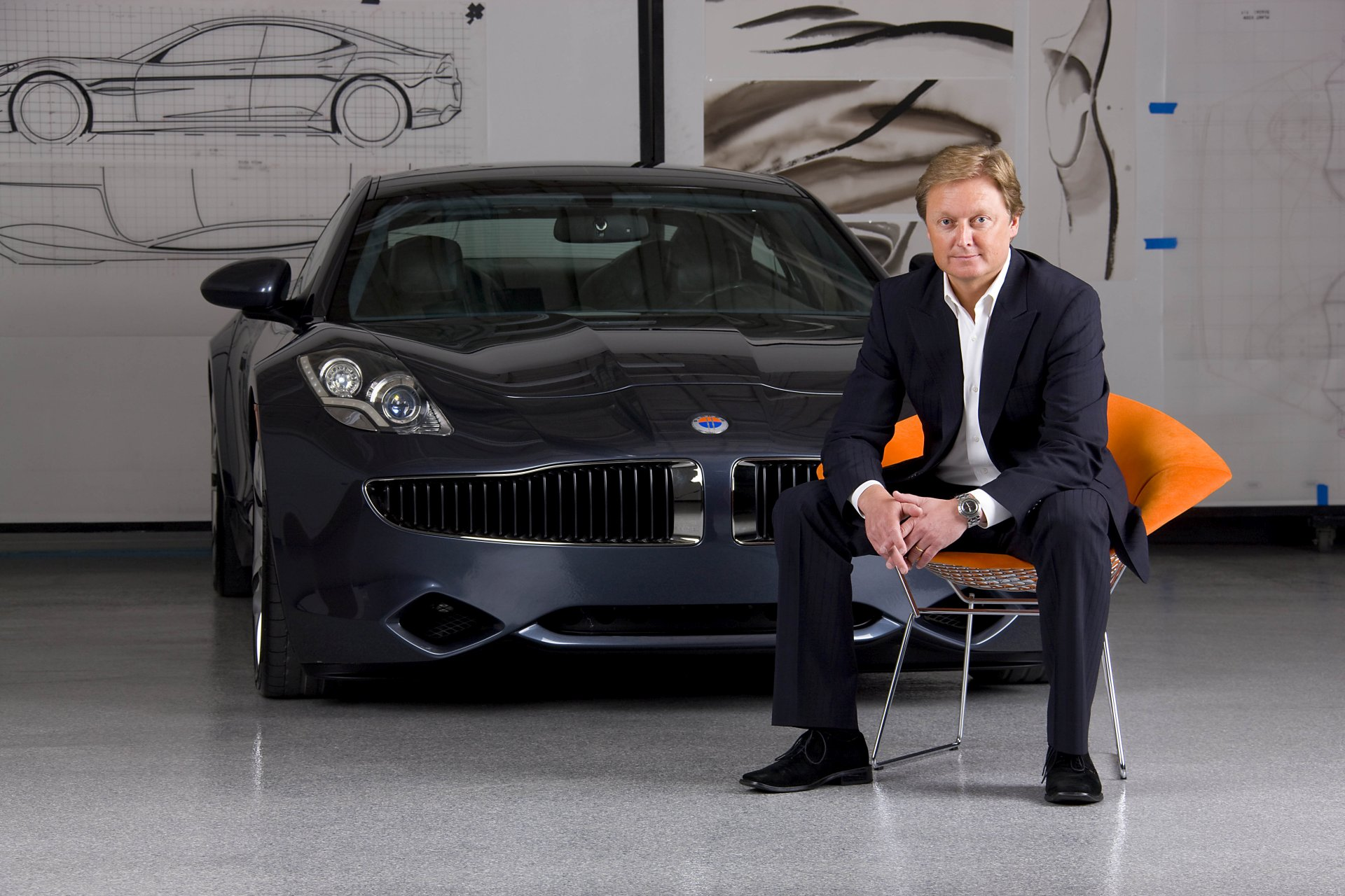Henrik Fisker and Fisker Karma car