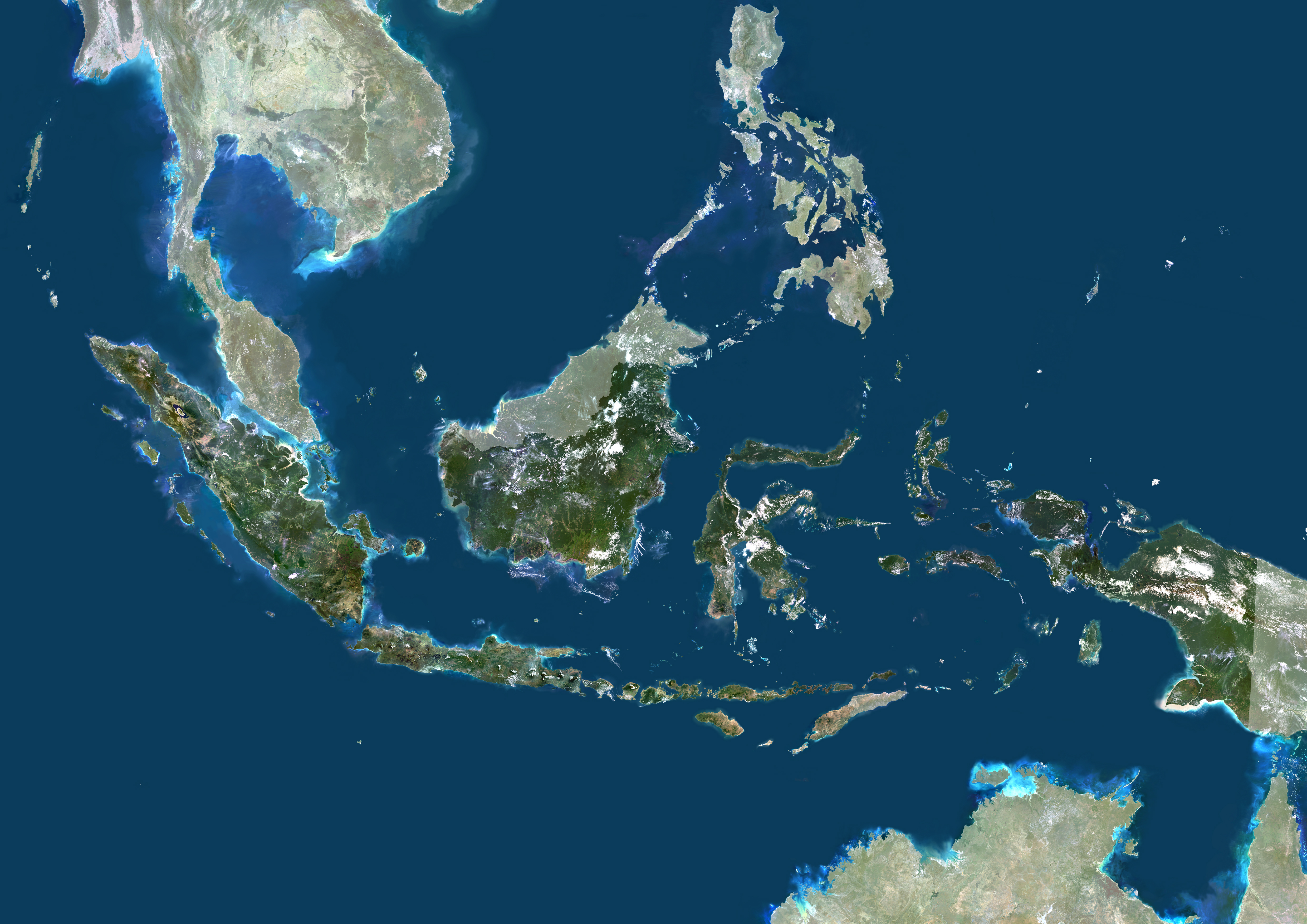 Indonesia, Asia, True Colour Satellite Image With Mask
