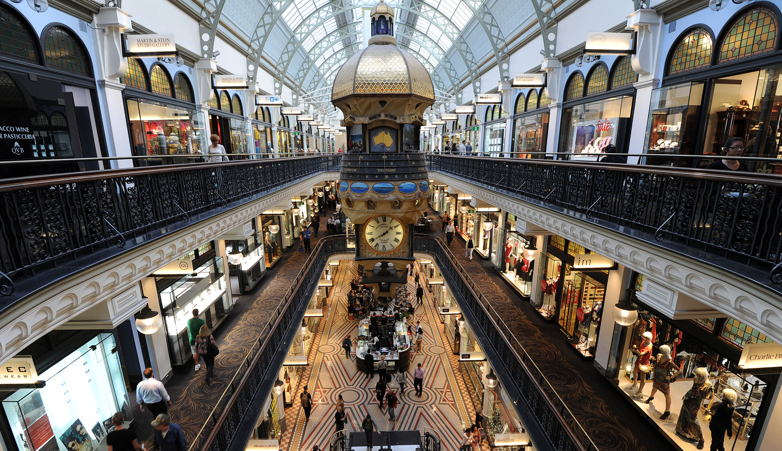Shoppers fill the Queen Victoria Buildin