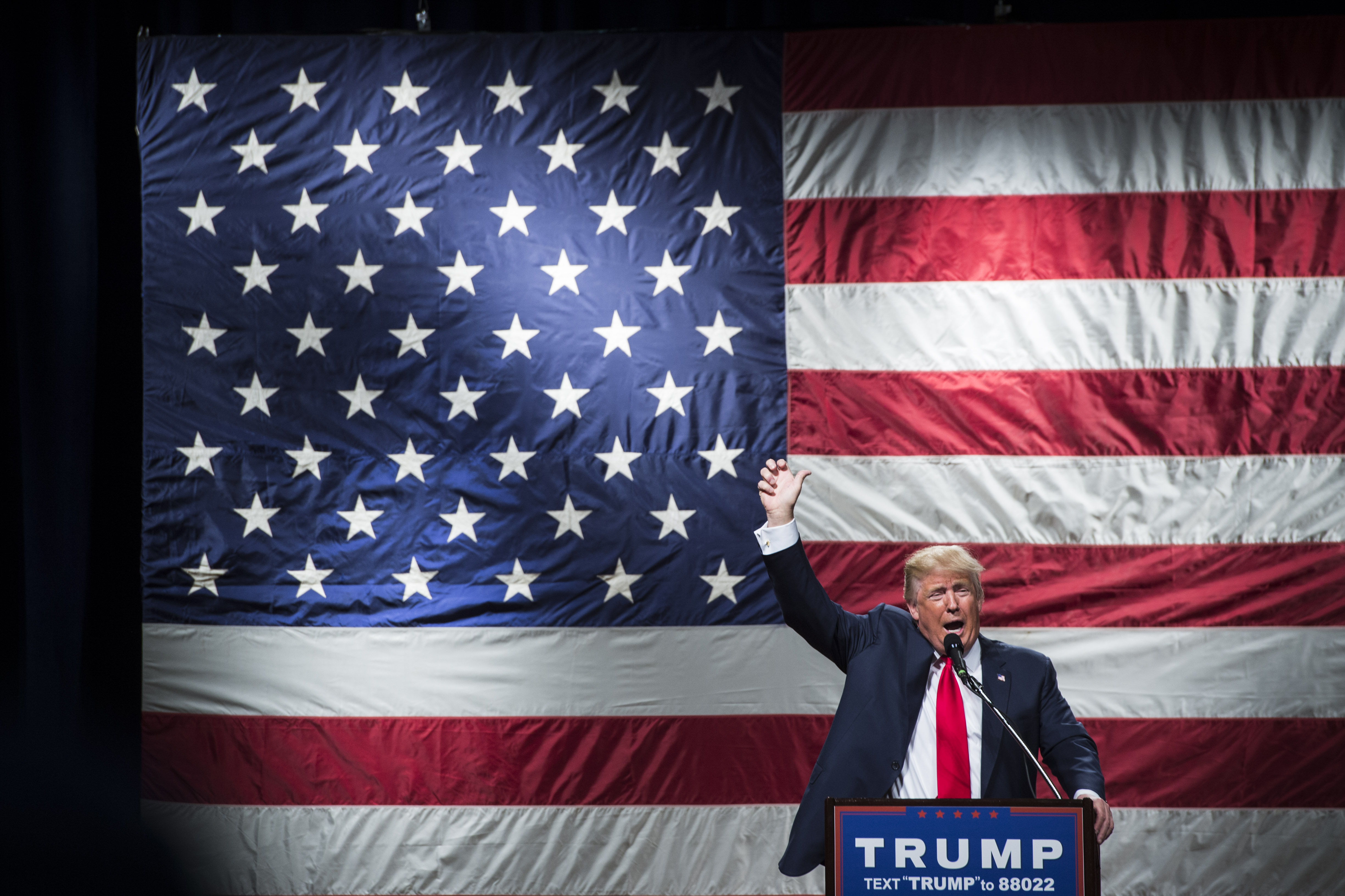 Republican presidential candidate Donald Trump in Poughkeepsie, NY.