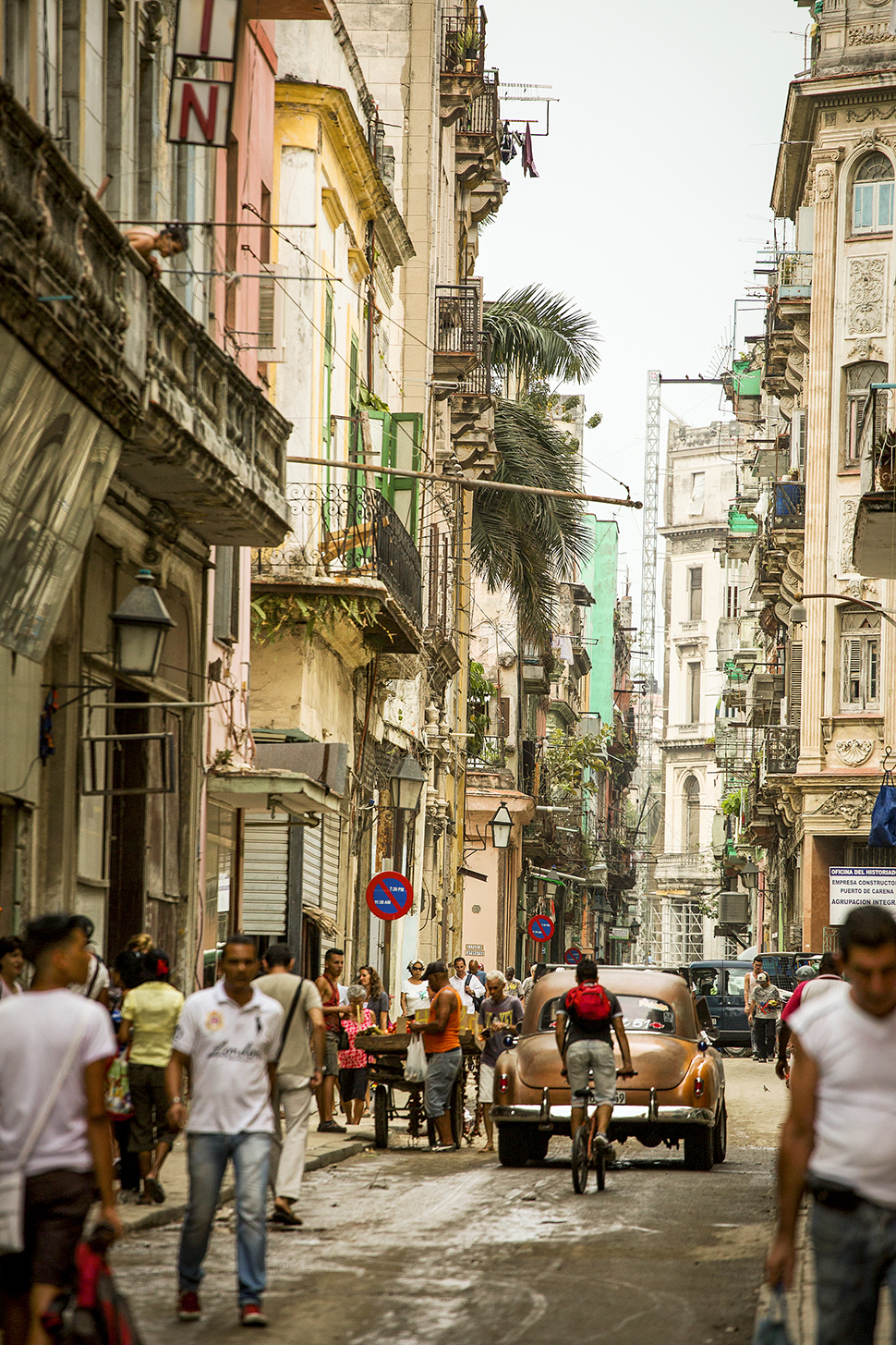 The streetscape of downtown Havana