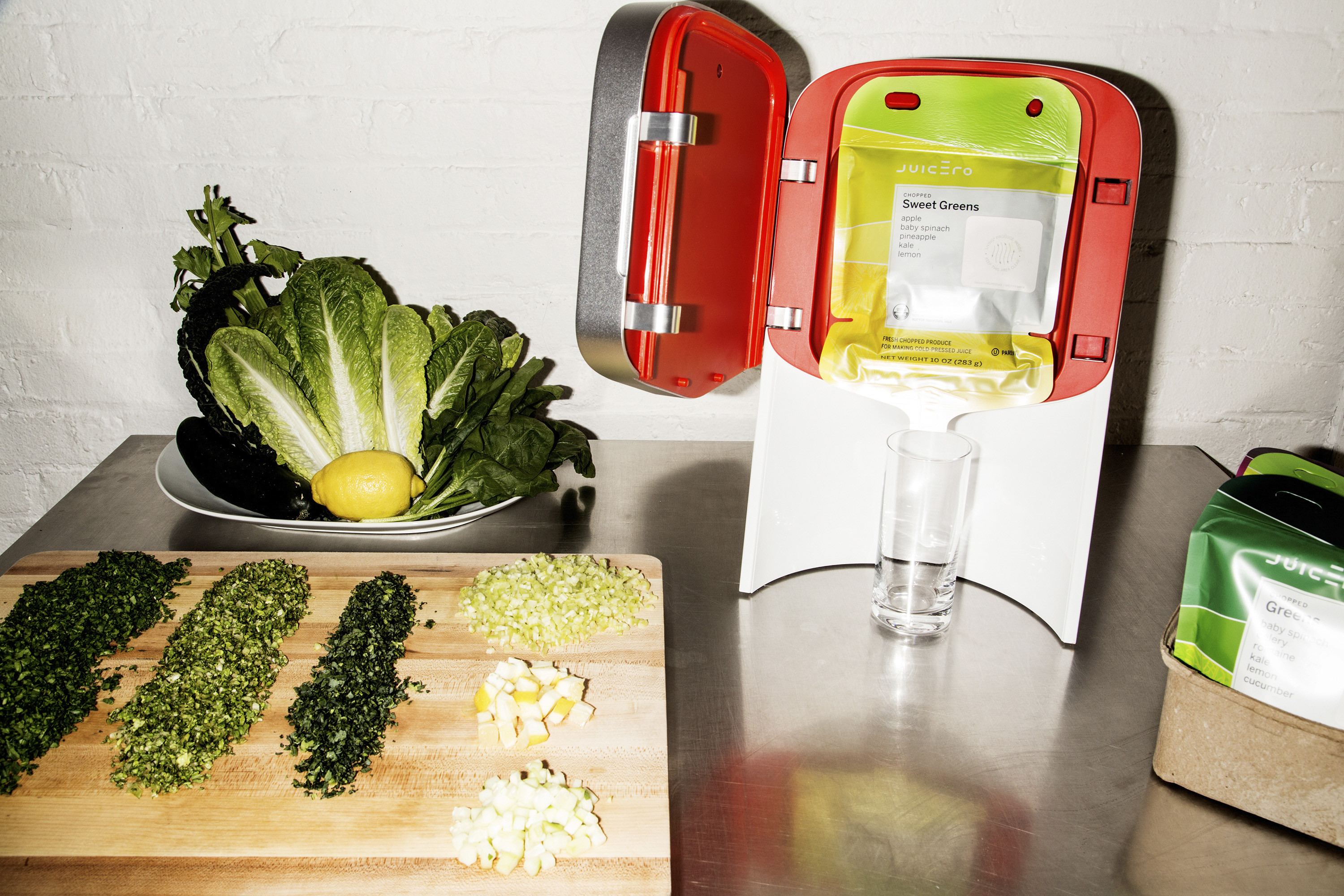 A machine that makes an eight-ounce glass of juice from Doug Evans company Juicero, in New York.