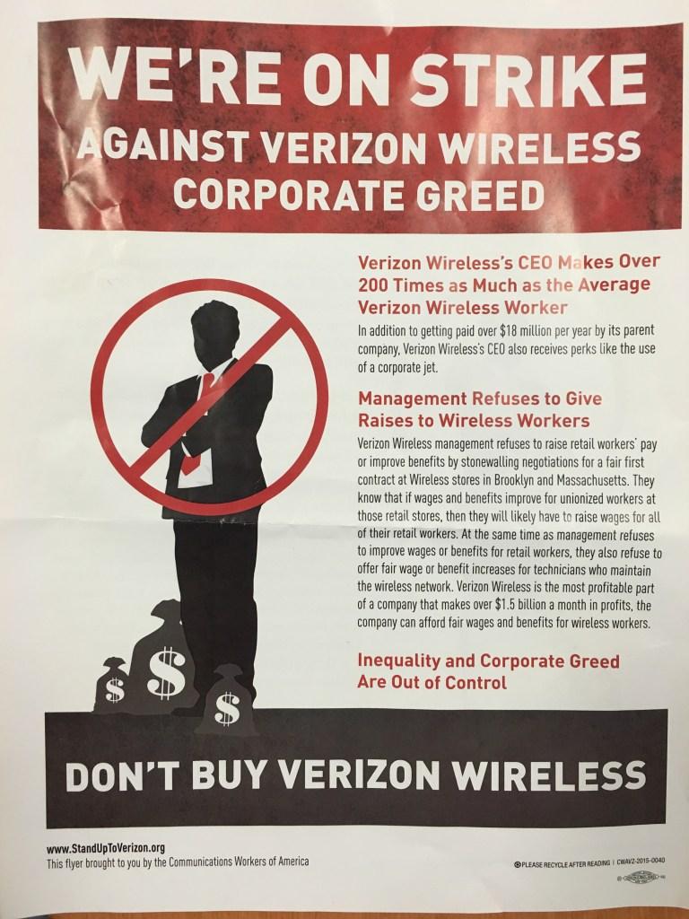 Leaflet calling for Verizon Wireless boycott