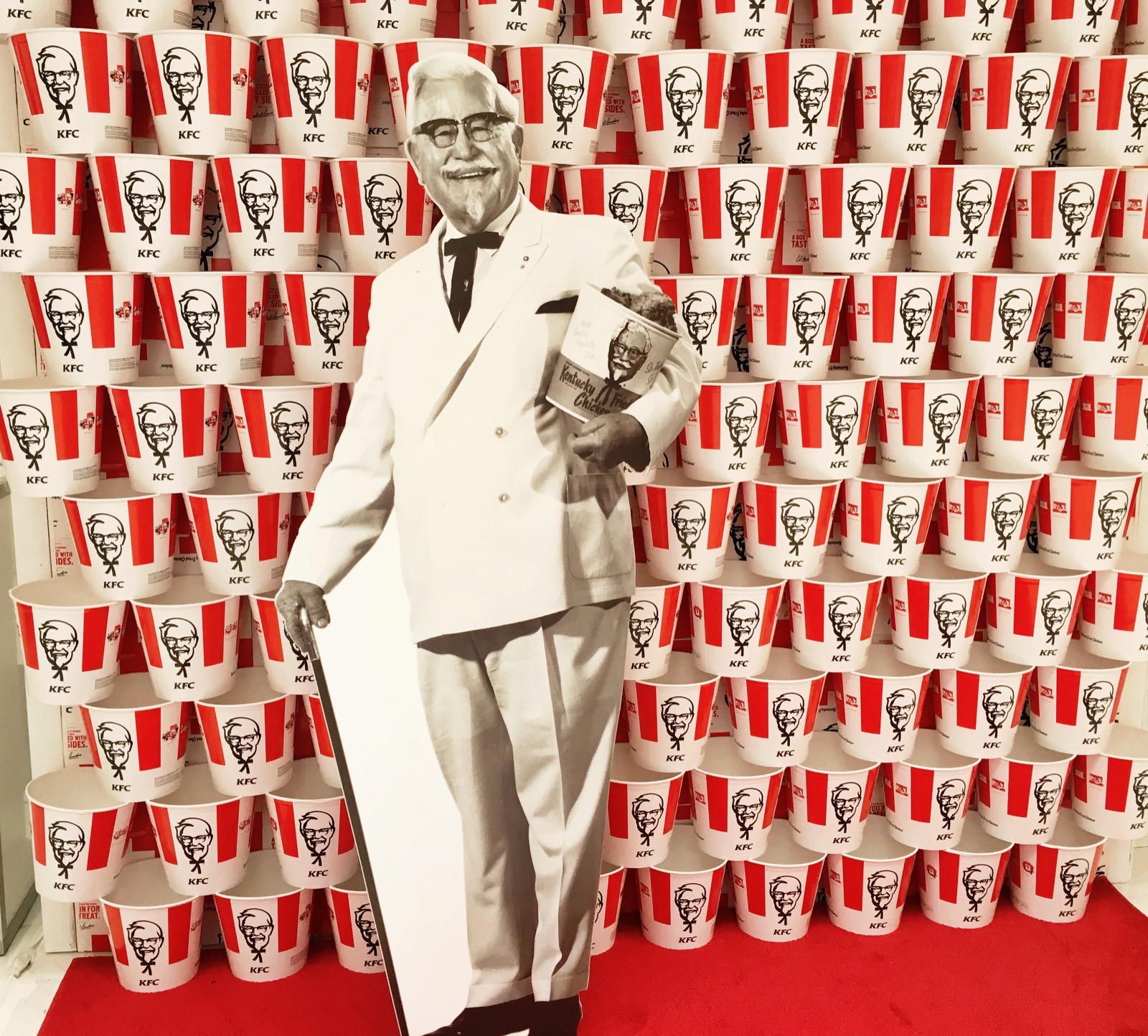 A cutout of Colonel Sanders at KFC's press conference.