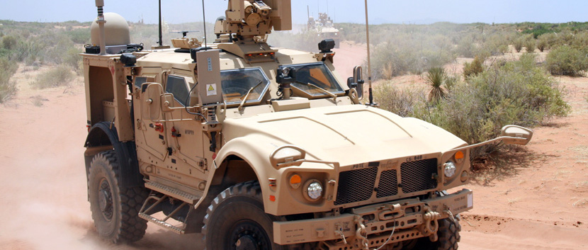 Army vehicle with new communications system.